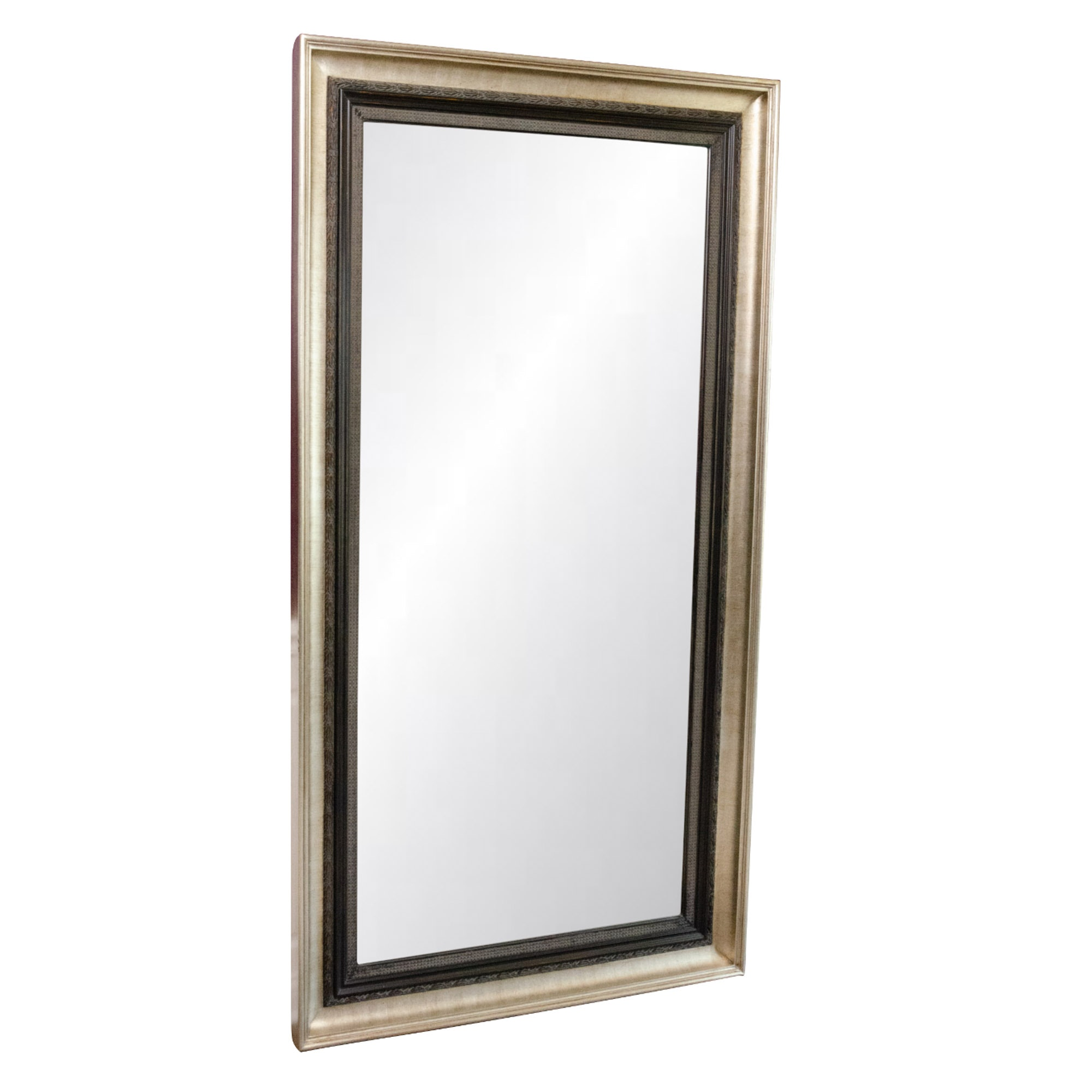 Satin Gold and Bronze Tone Full-Length Mirror