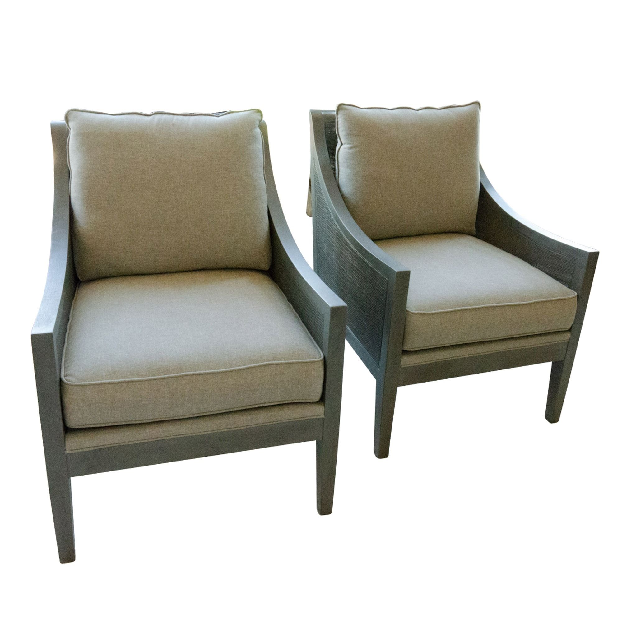 Pair of Contemporary Wooden Armchairs with Linen Cushions and Caned Side Panels
