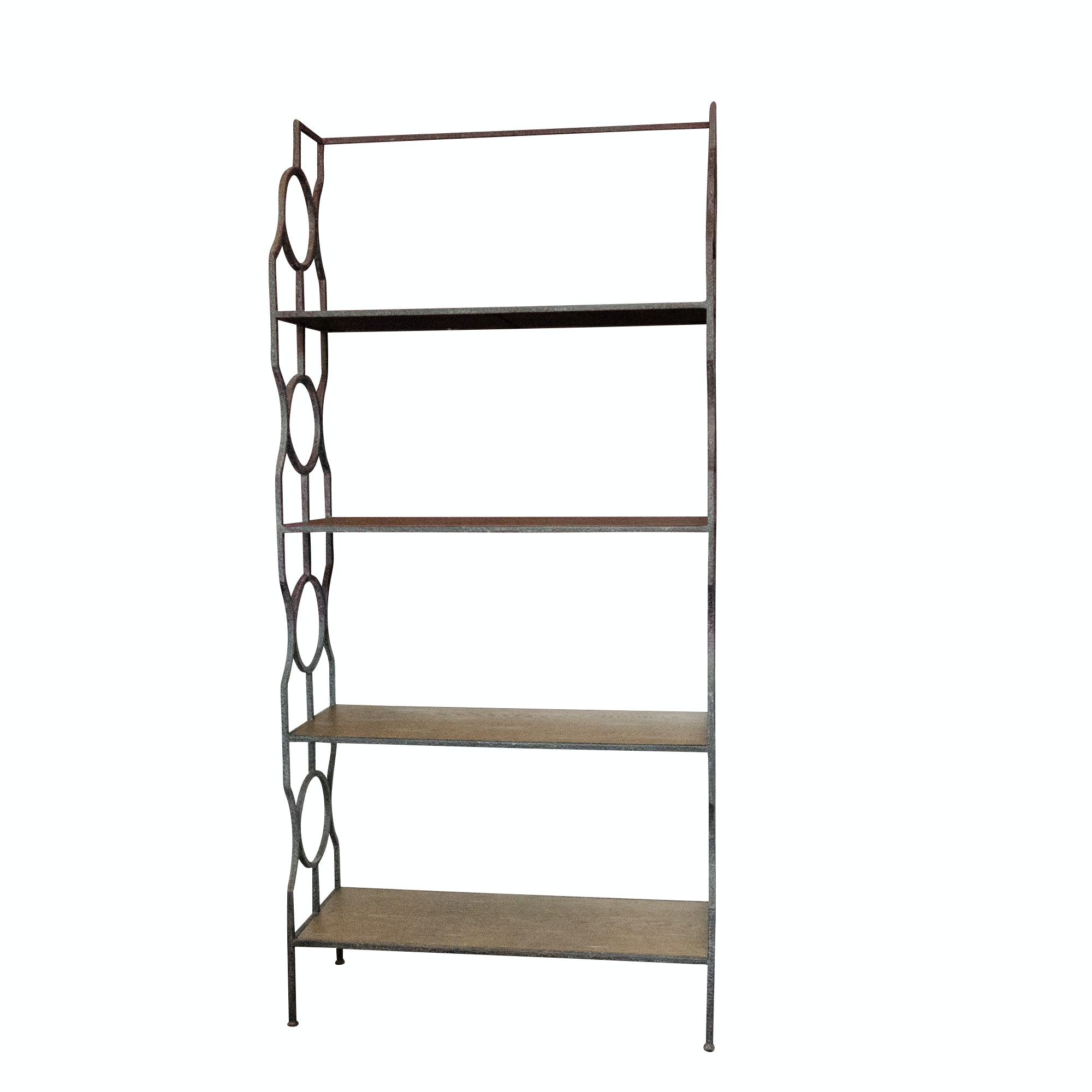 Contemporary Four-Tier Metal and Wood Bookcase with Geometric Details