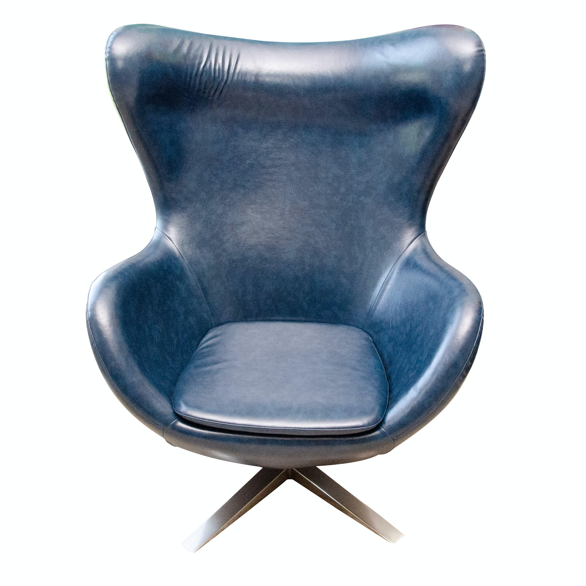 Contemporary Modernist Vinyl Blue Egg Chair, After a Design by George Nelson