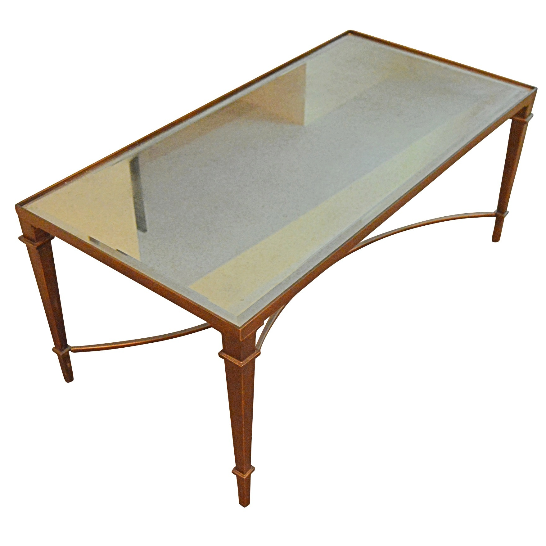 Contemporary Metal and Glass Cocktail Table with Mirrored Top