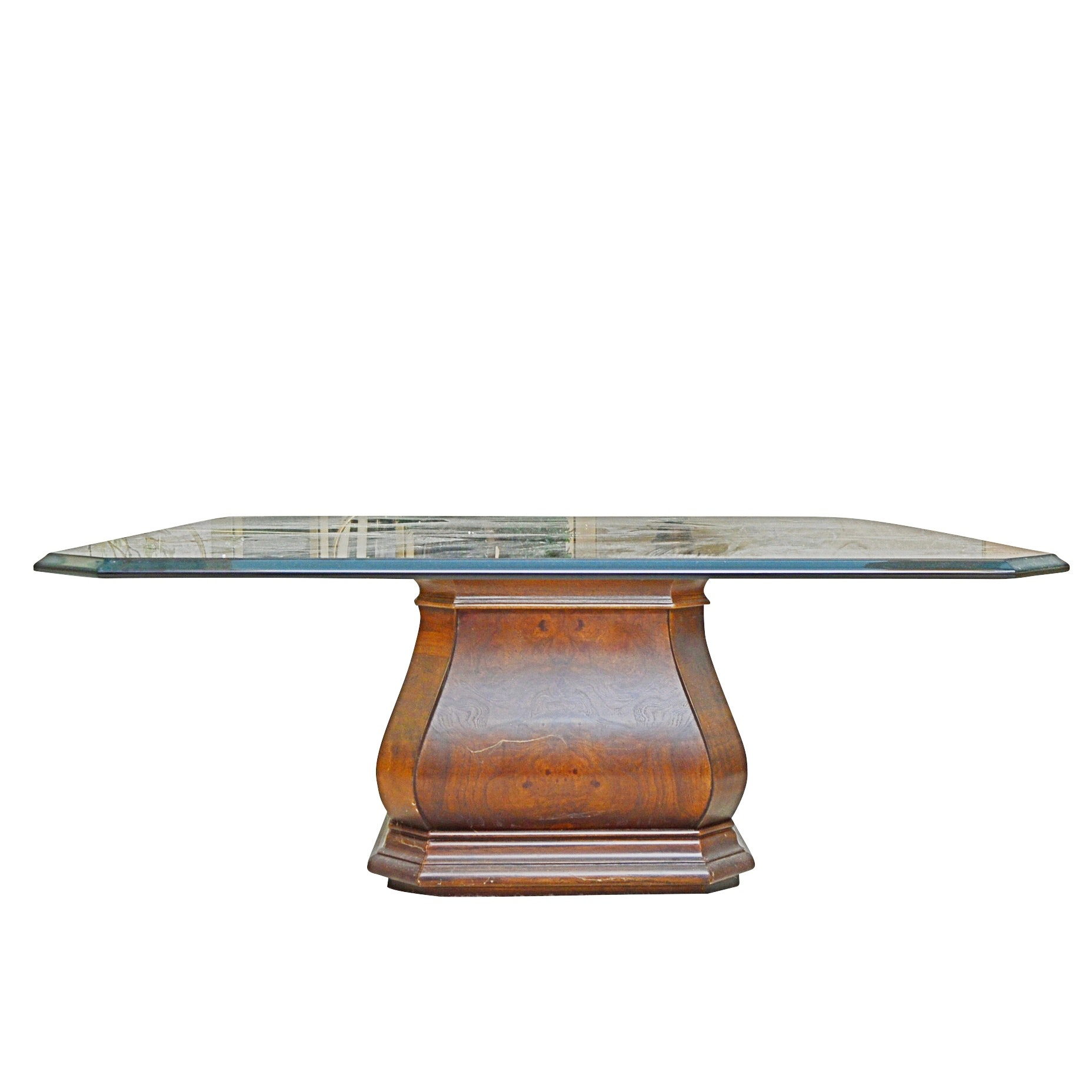 Contemporary Glass and Wooden Base Cocktail Table