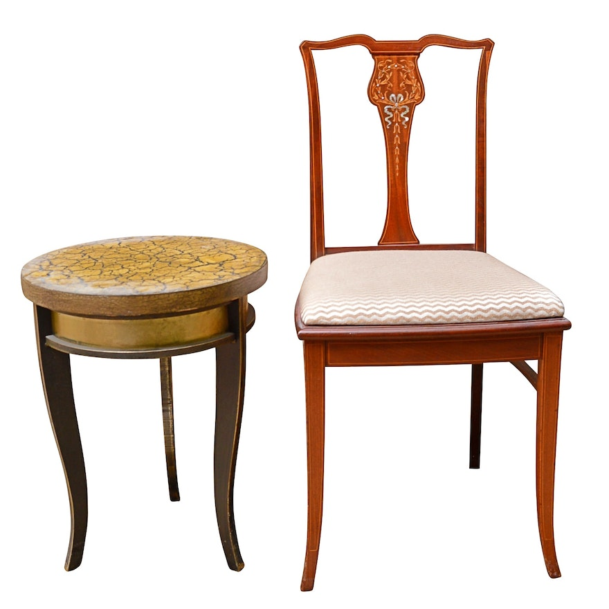 Contemporary Metal Side Table and Colonial Revival Mahogany and Marquetry Chair