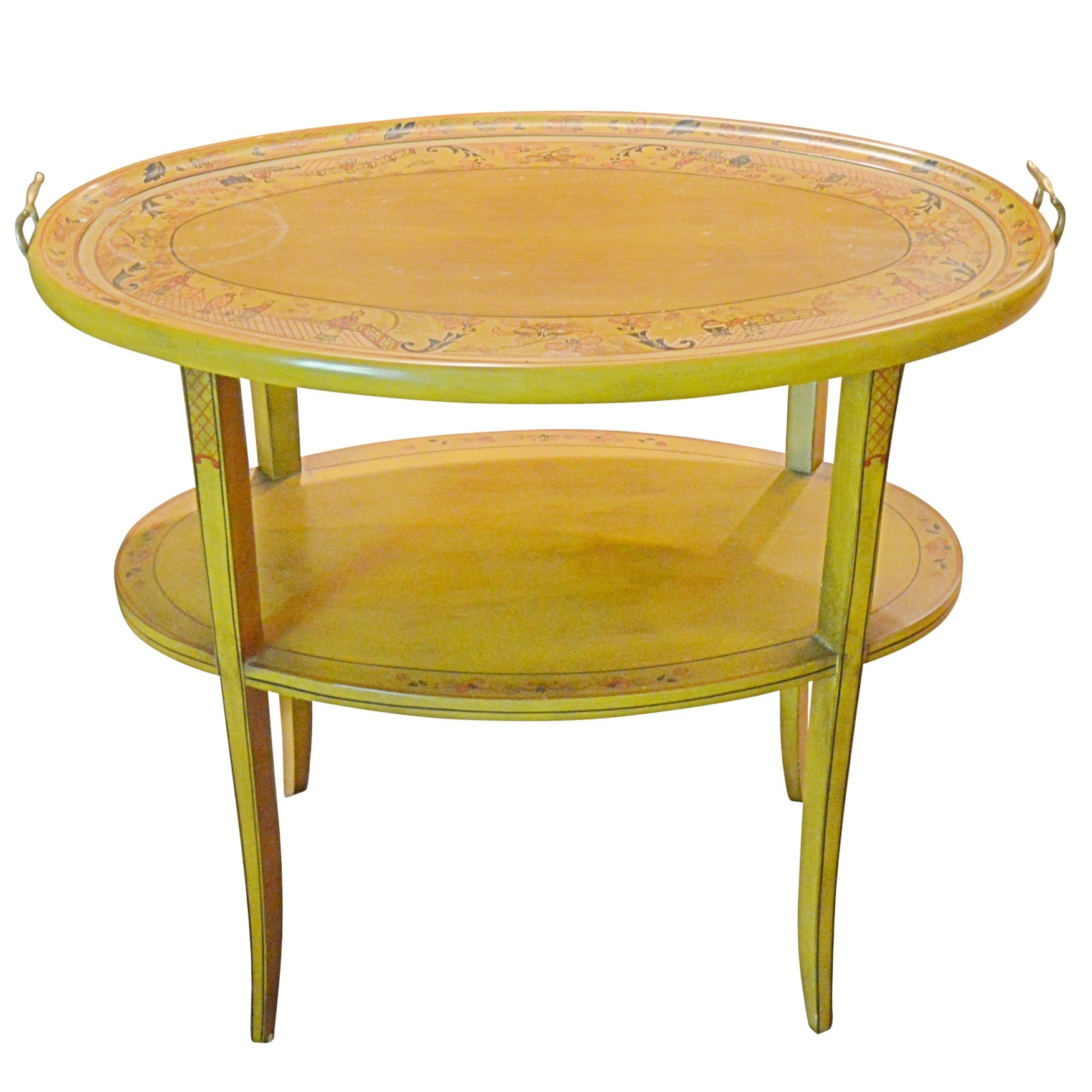 Chinoiserie Style Painted Wooden Two-Tier Serving Table