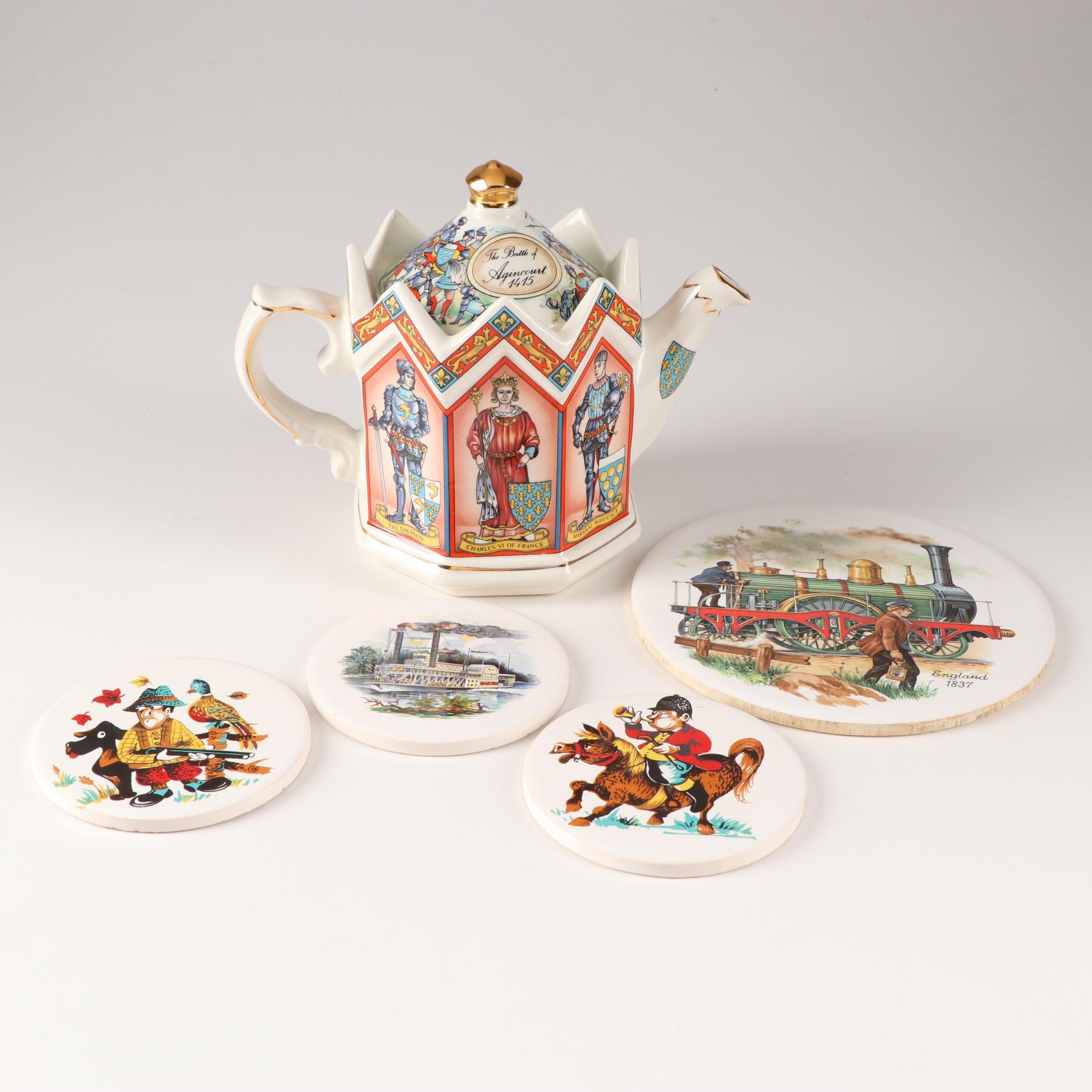 English Ceramic Tea Pot and Coasters