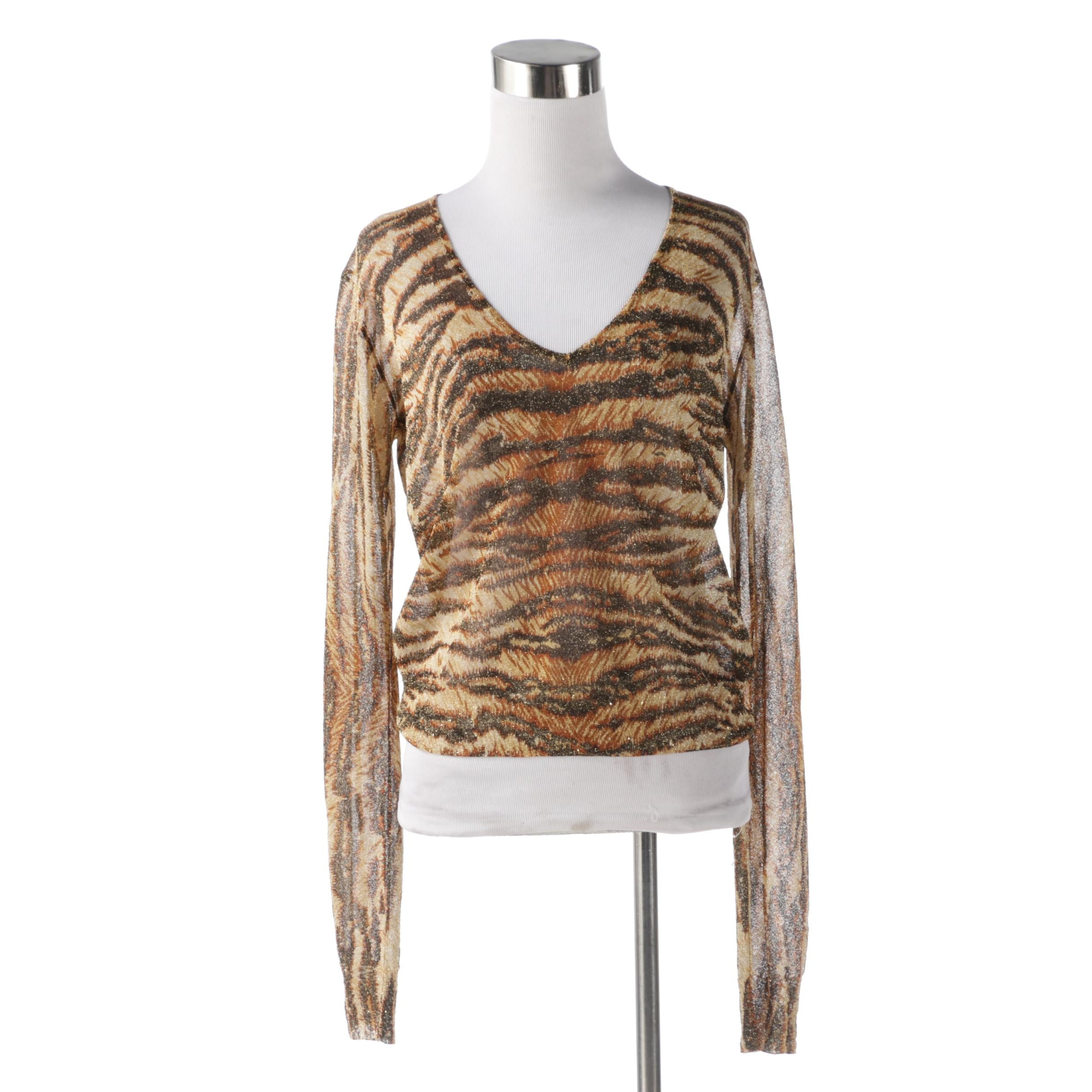 Dolce & Gabbana Tiger Print Transparent Top