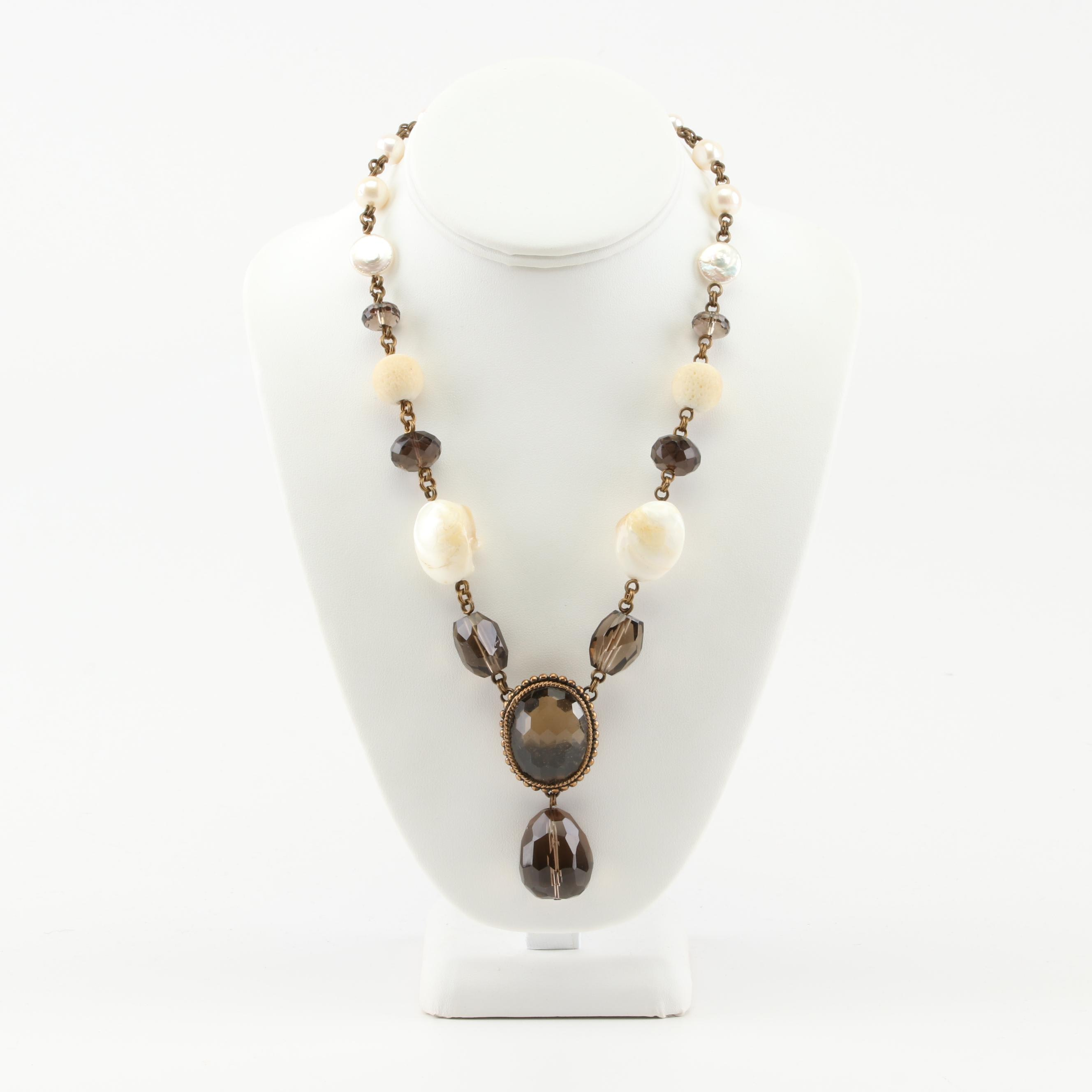 Stephen Dweck Freshwater Pearl and Smoky Quartz Necklace