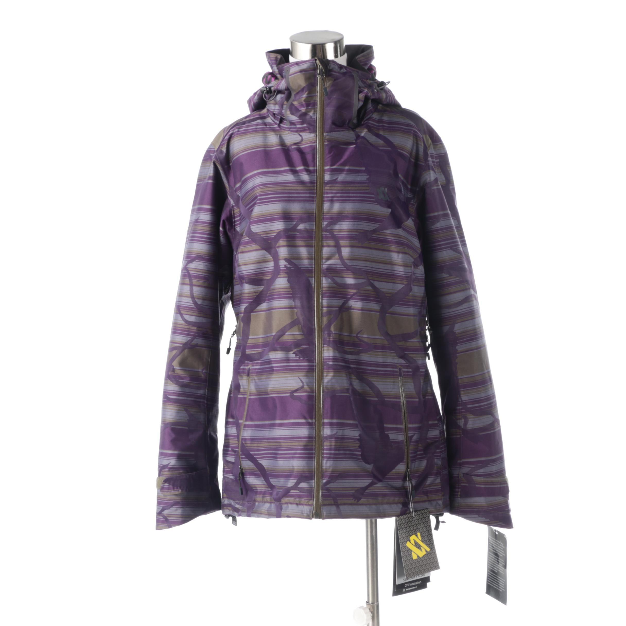 Women's Völkl Manu Hooded Insulated Ski Jacket in Purple and Olive Green