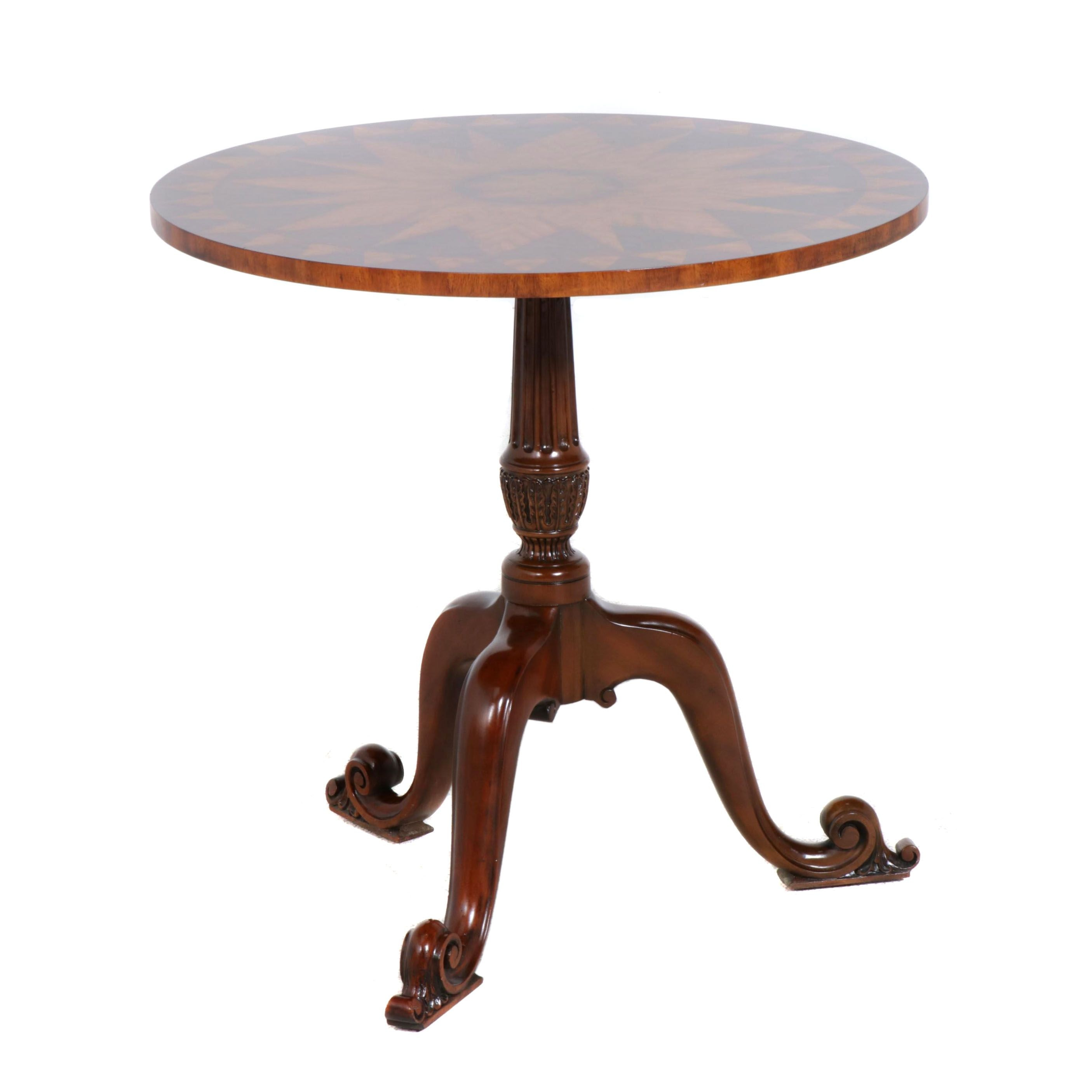 Maitland Smith Mahogany Finish and Inlaid Wooden Table