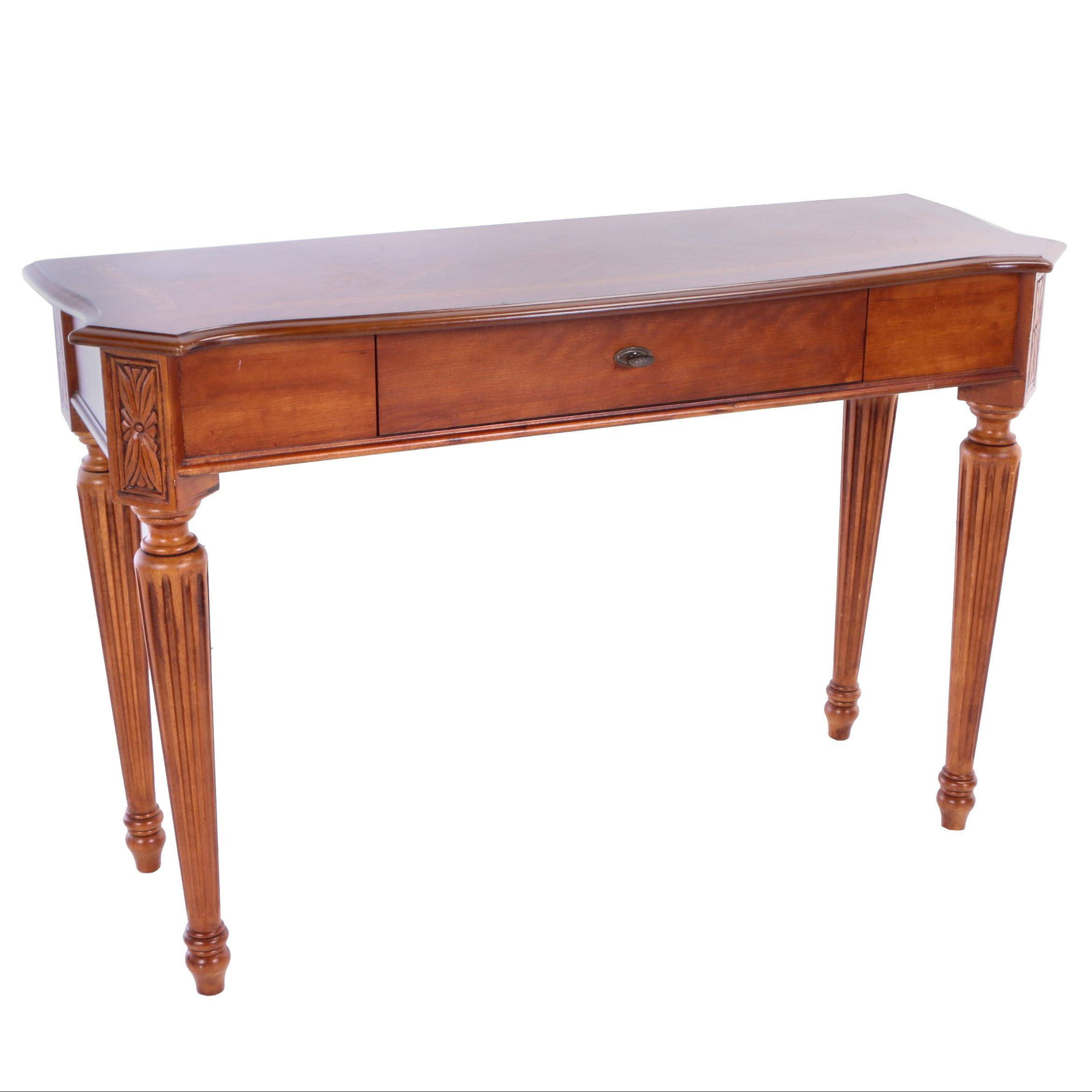 Contemporary Louis XVI Style Cherrywood-Veneered and Oak-Crossbanded Sofa Table