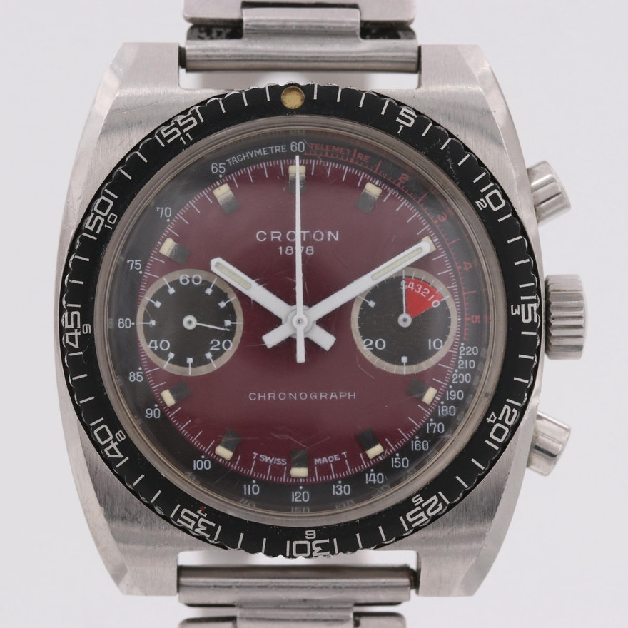 Vintage Croton Stainless Steel Stem Wind Chronograph Wristwatch