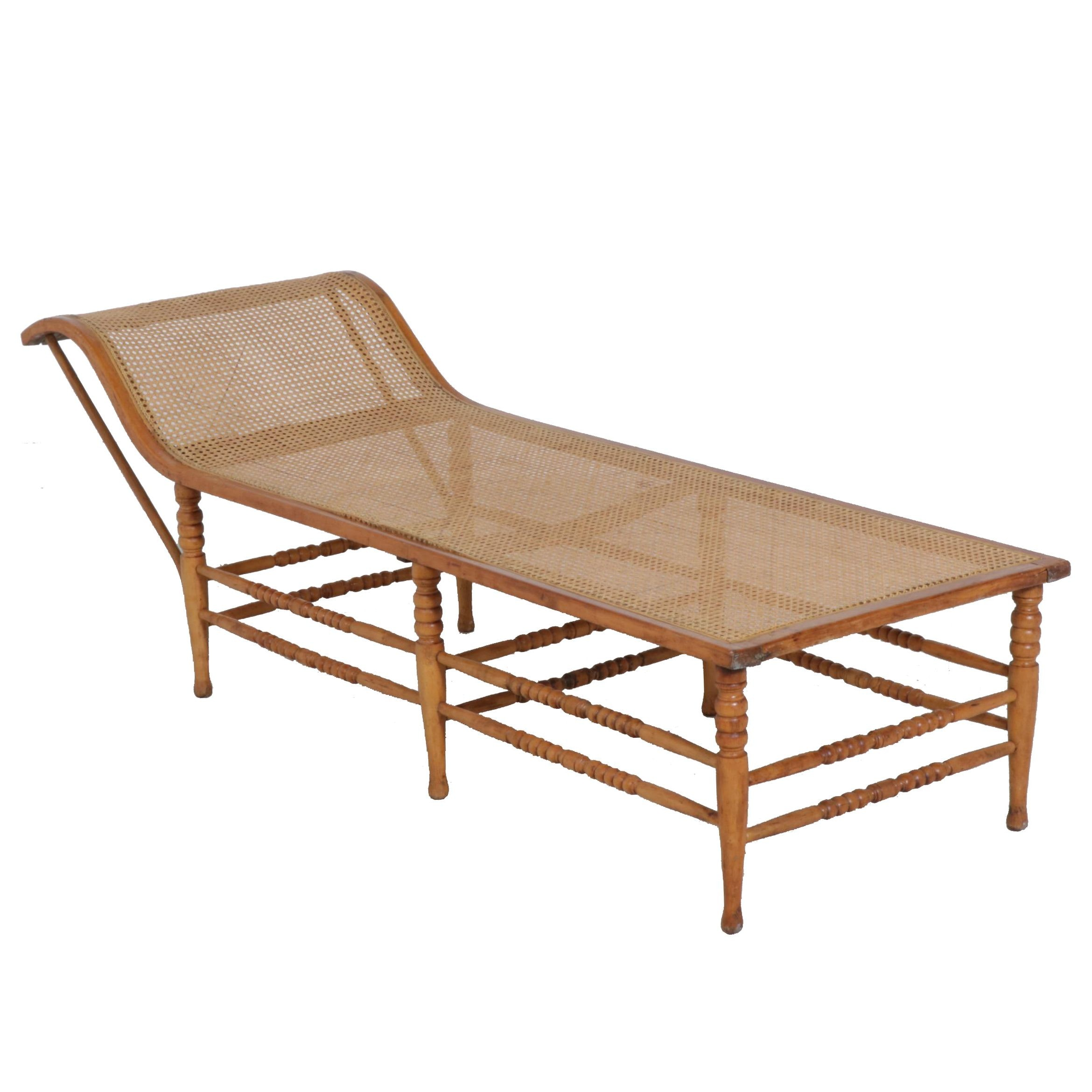 Caned Bentwood Chaise Lounge, Early 20th Century
