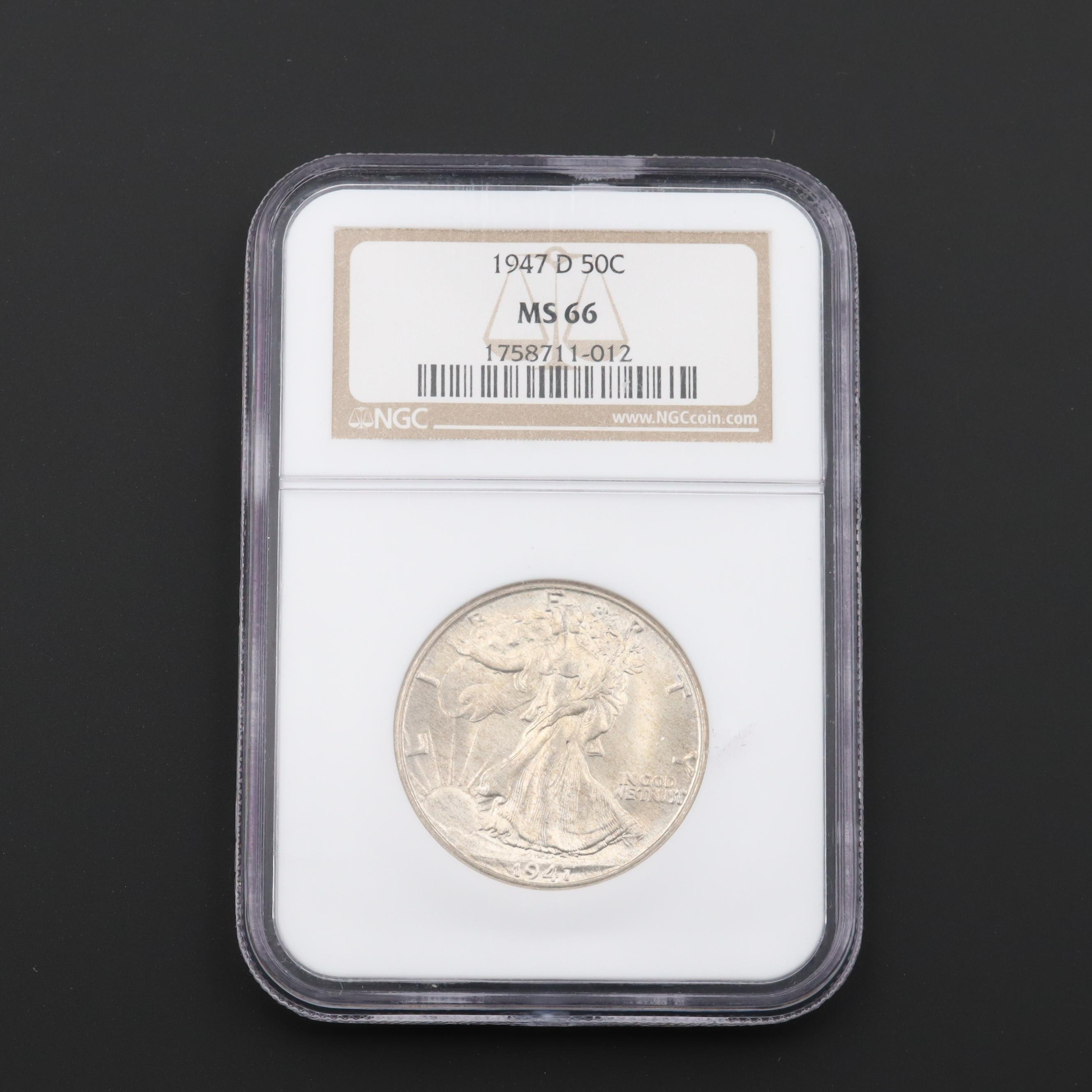 NGC Graded MS66 1947-D Walking Liberty Silver Half Dollar