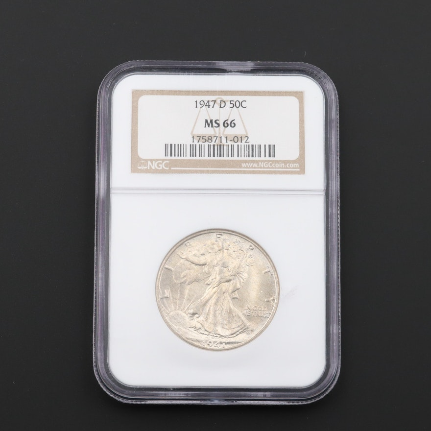 NGC Graded MS66 1947-D Walking Liberty Silver Half Dollar