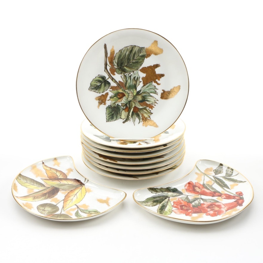 Hobbyist Hand-Painted Limoges Porcelain Luncheon and Crescent Plates