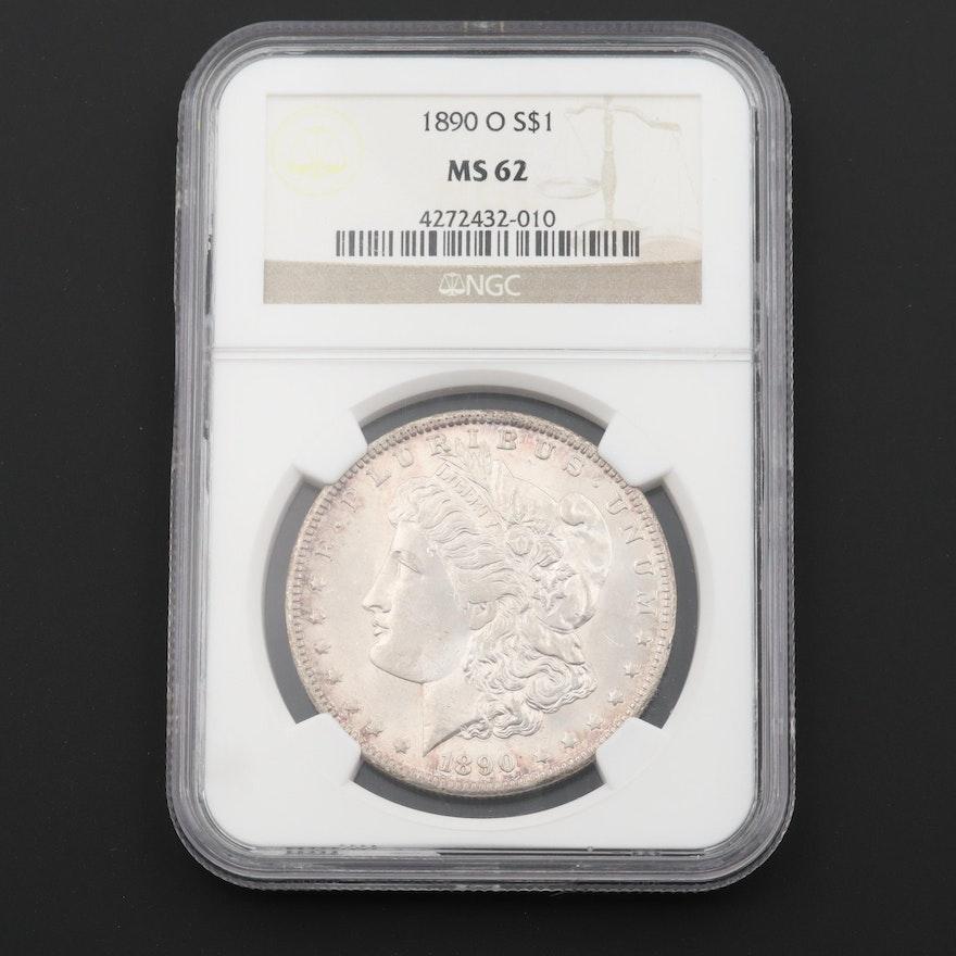 NGC Graded MS62 1890-O Morgan Silver Dollar