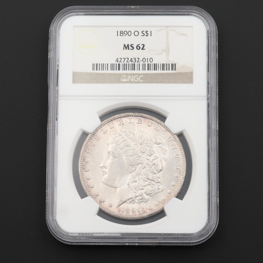 NGC Graded MS62 1890-O Morgan Silver Dollar