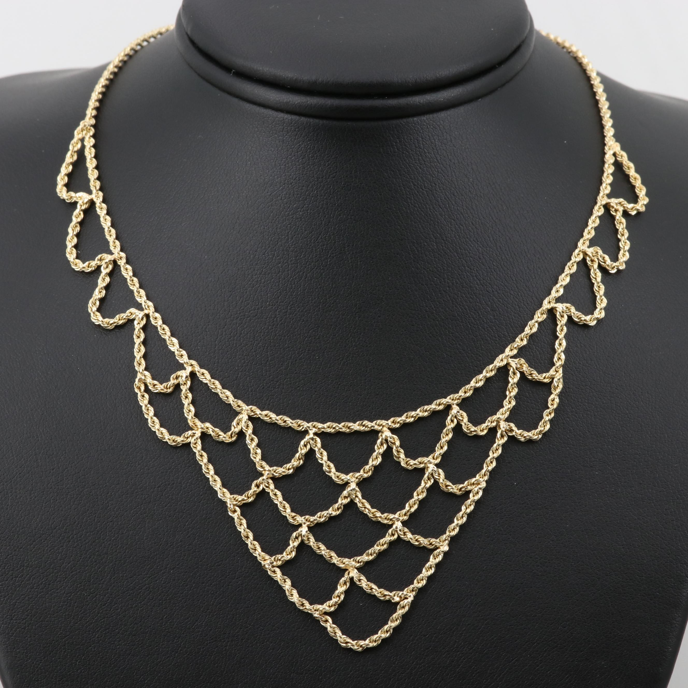 14K Yellow Gold Rope Bib Necklace