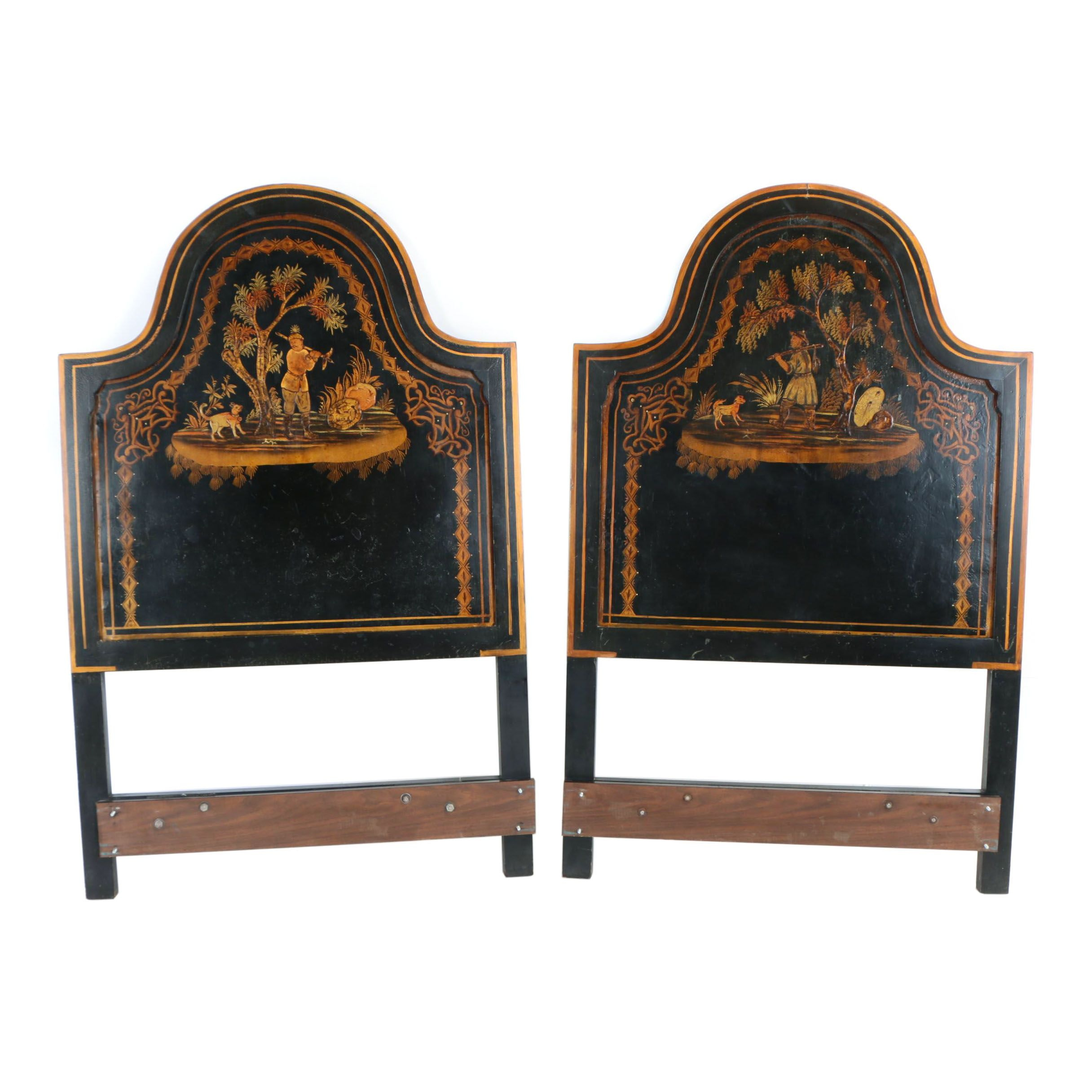 Two Ebonized, Parcel-Gilt, and Chinoiserie-Decorated Twin Size Headboards