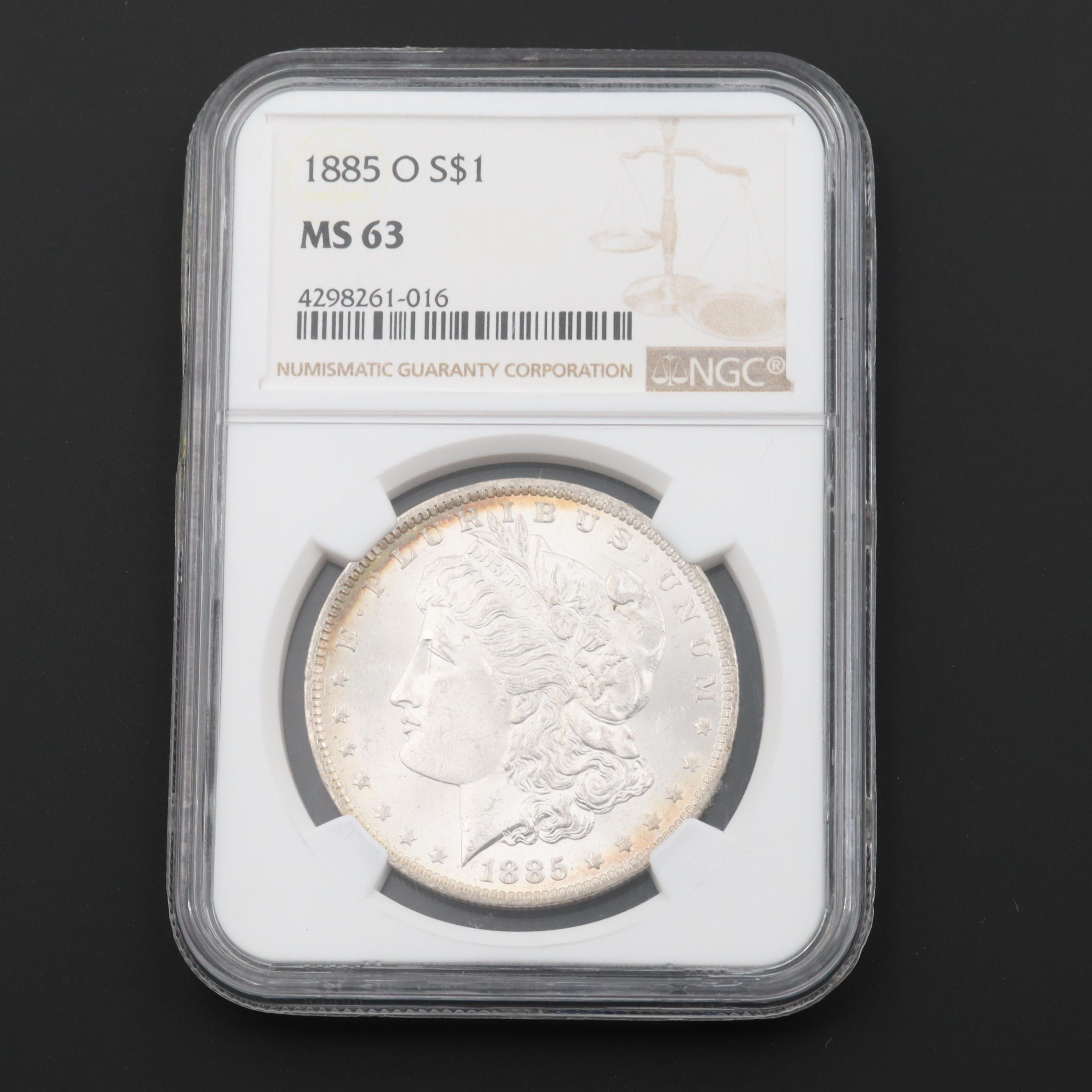NGC Graded MS63 1885-O Morgan Silver Dollar