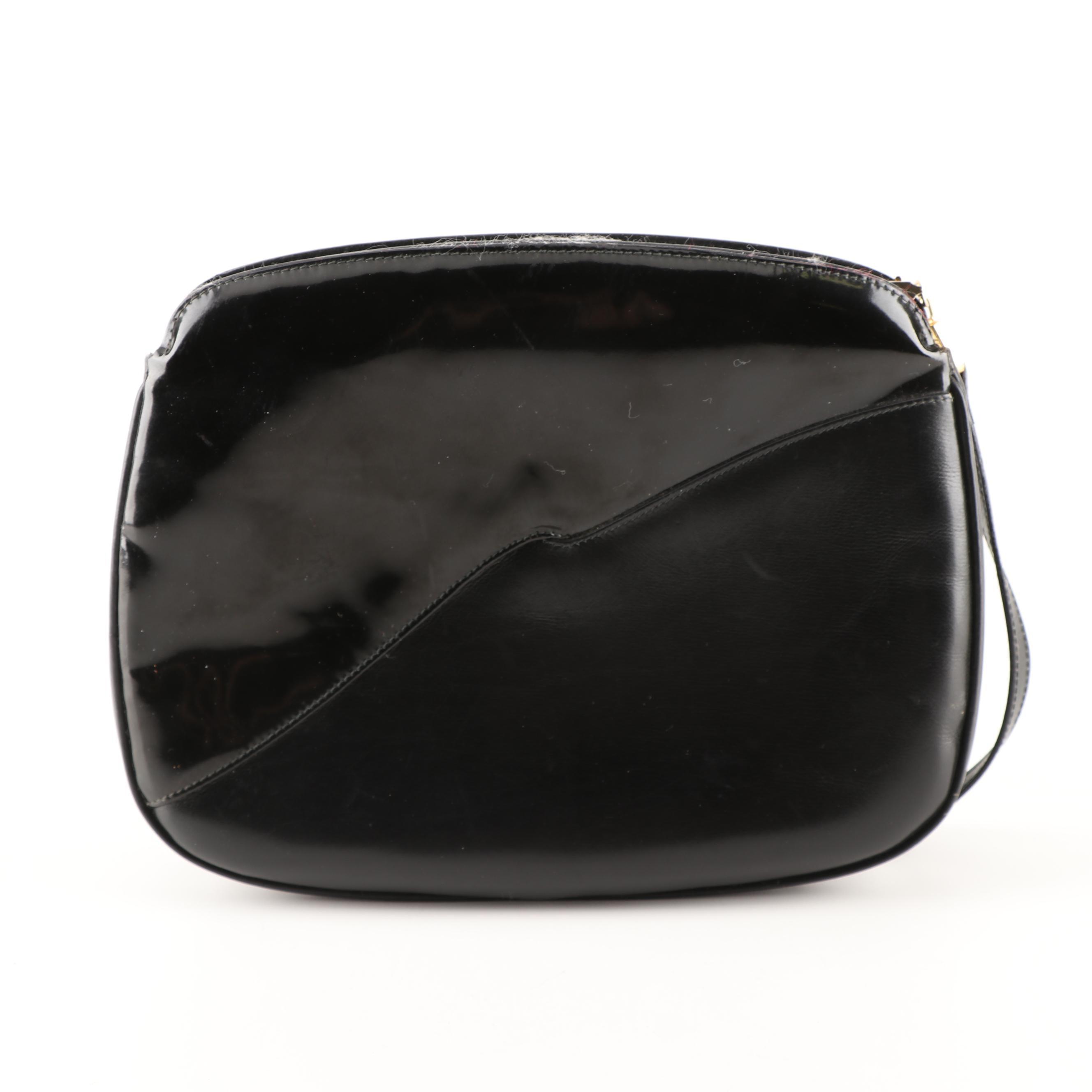 Salvatore Ferragamo Black Calfskin and Patent Leather Shoulder Bag