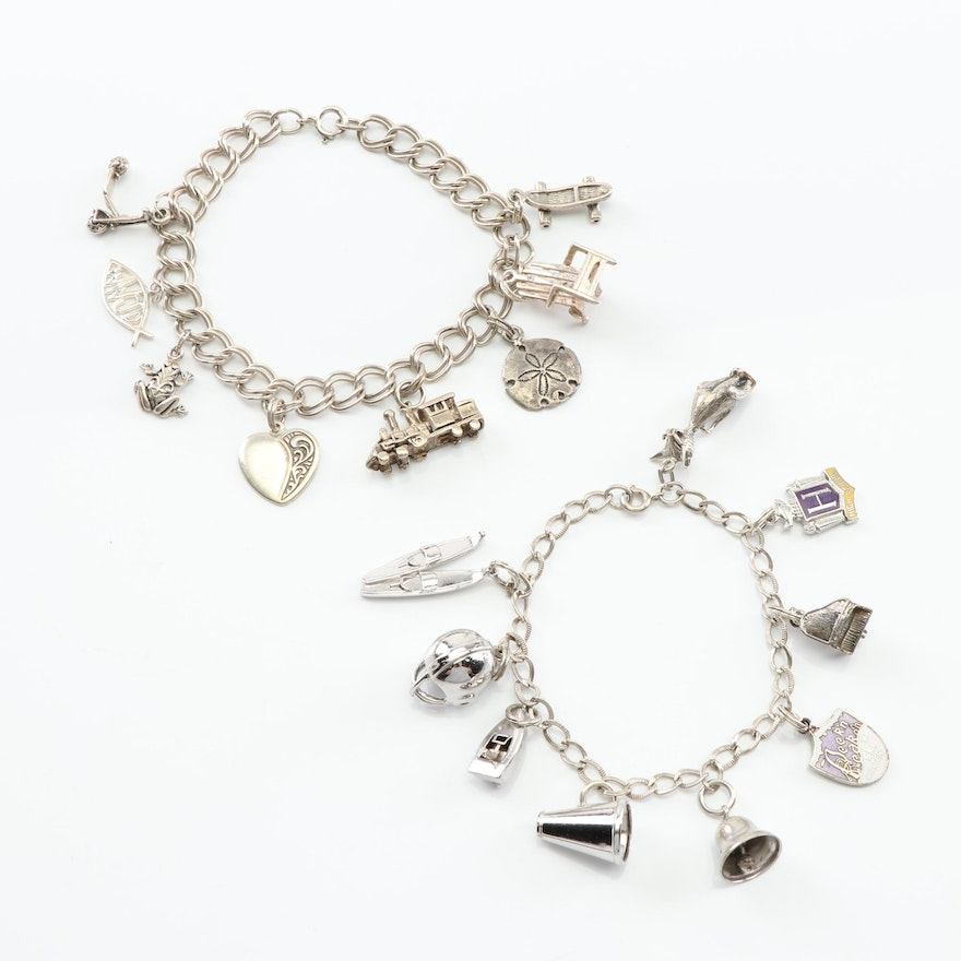 Sterling Silver Charm Bracelet Grouping