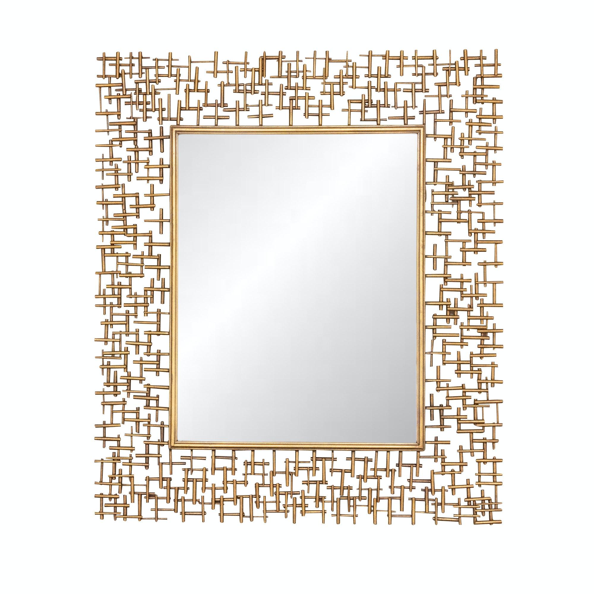 Uttermost Brutalist Style Gilt Wall Mirror