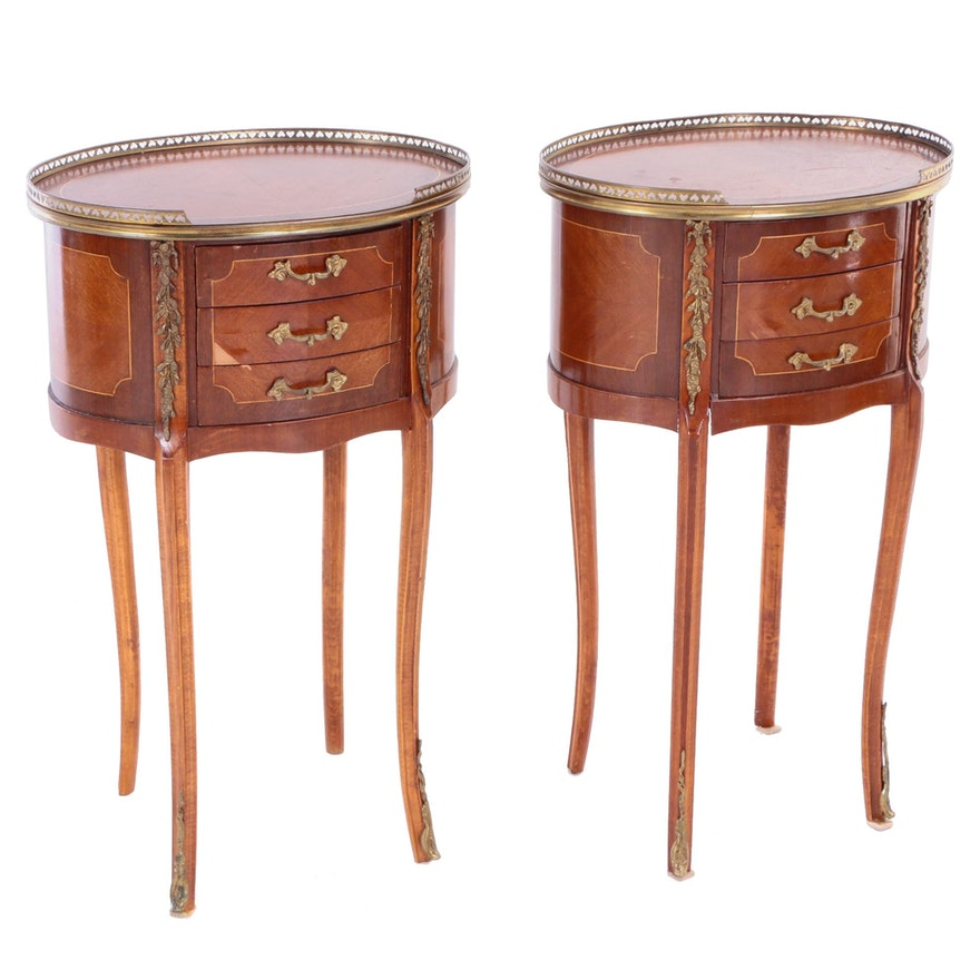 Pair of French Transitional Style Gilt-Metal Mounted & String-Inlaid Side Tables