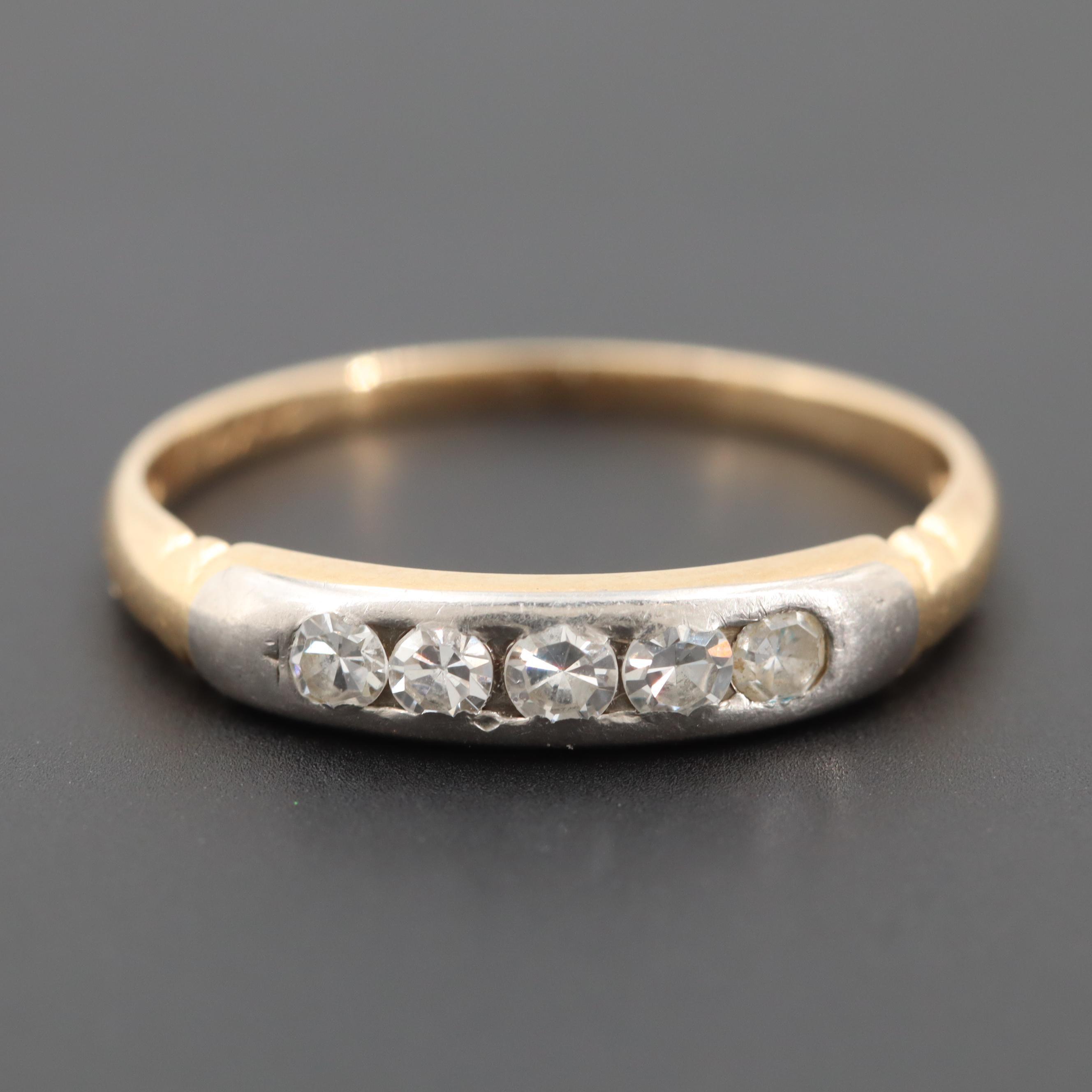 14K Yellow Gold Diamond Ring with Palladium Crown