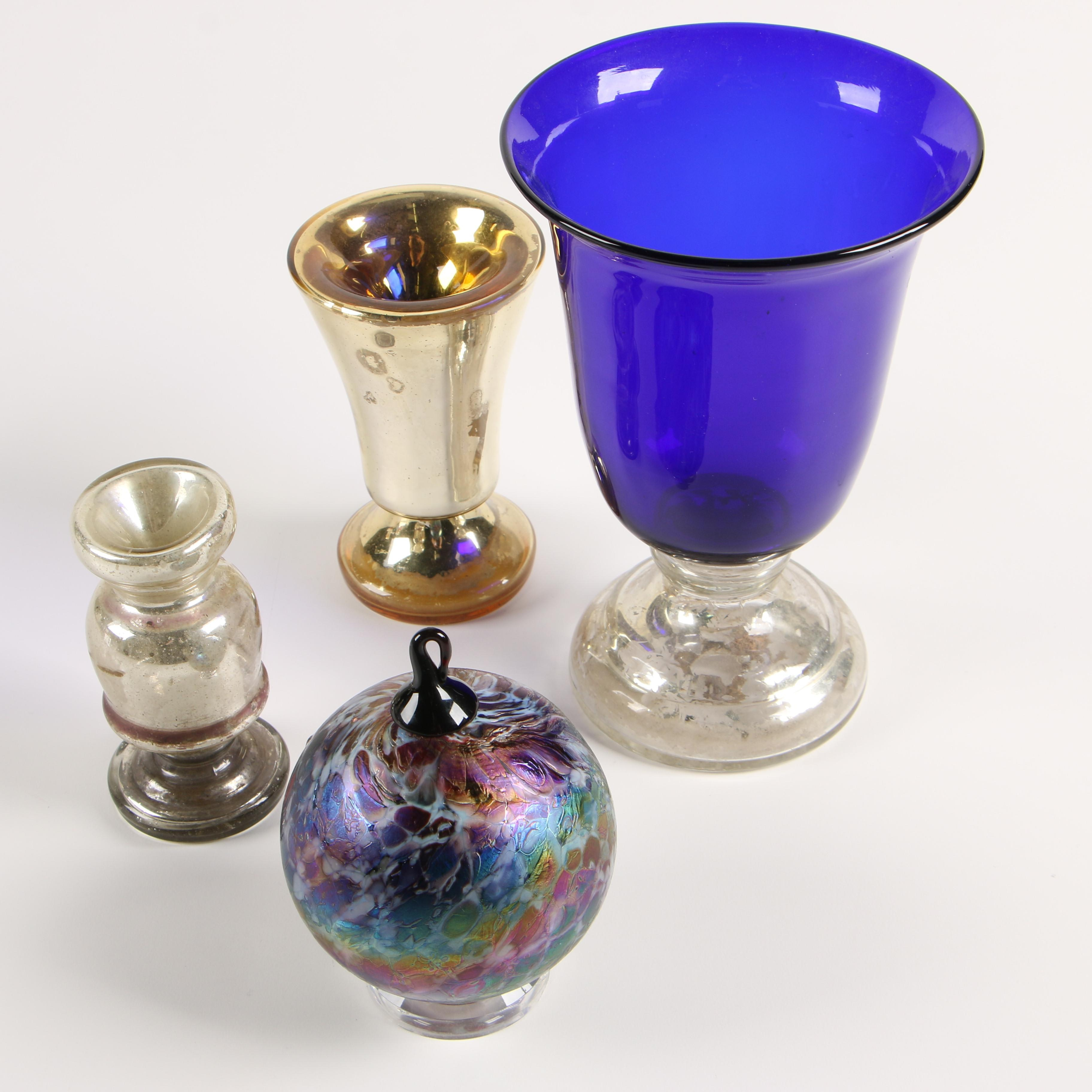 Art Glass and Mercury Glass Vases and Ornament