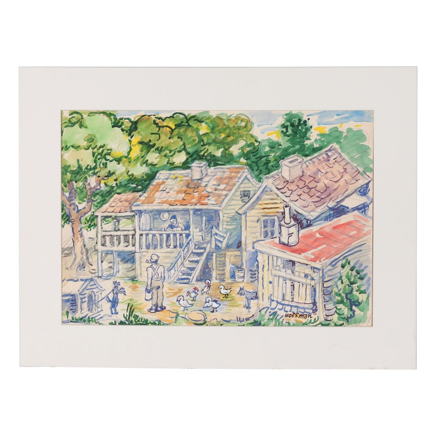 Hoffman Watercolor Painting of Figural Farm Scene
