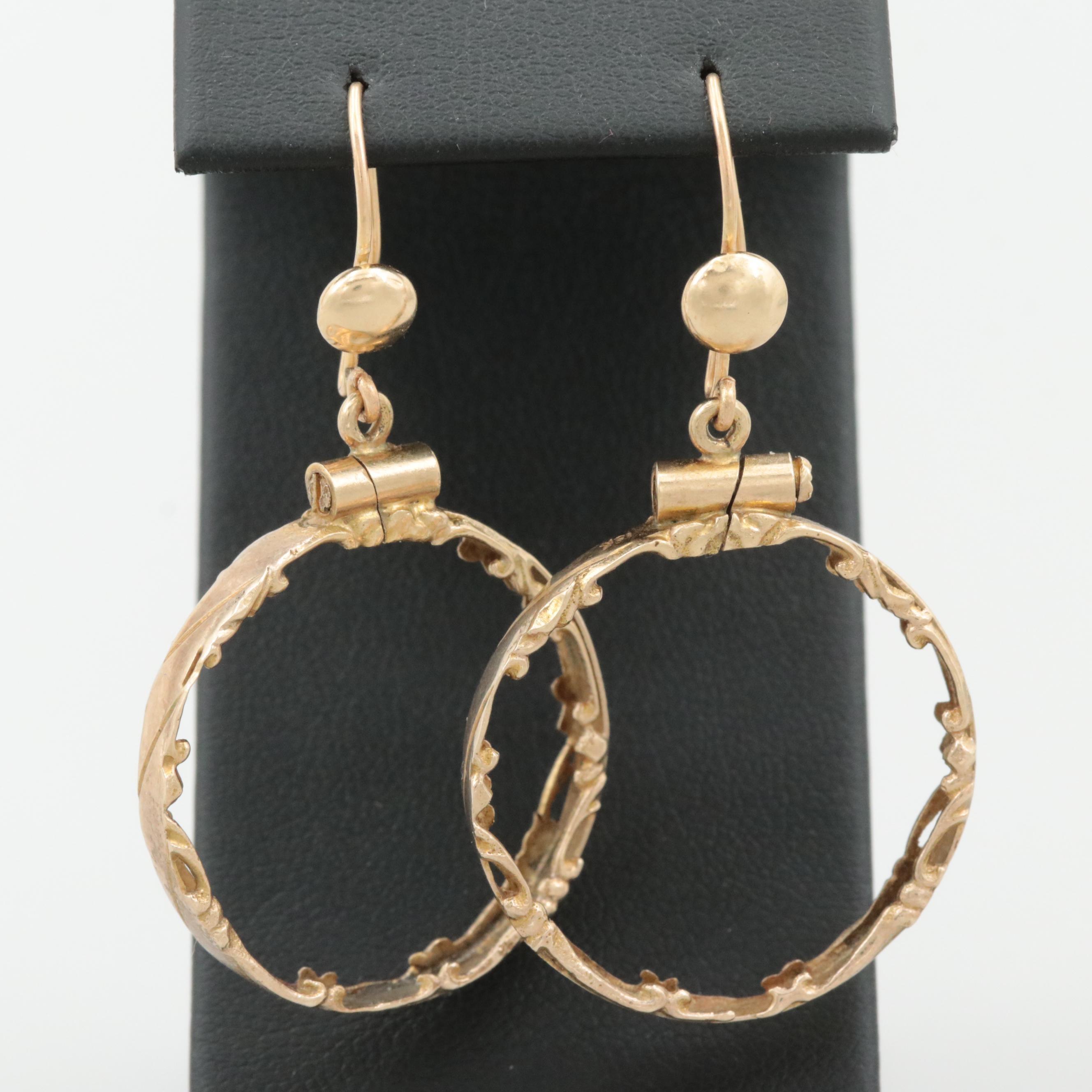 14K Yellow Gold Coin Bezel Dangle Hoop Earrings