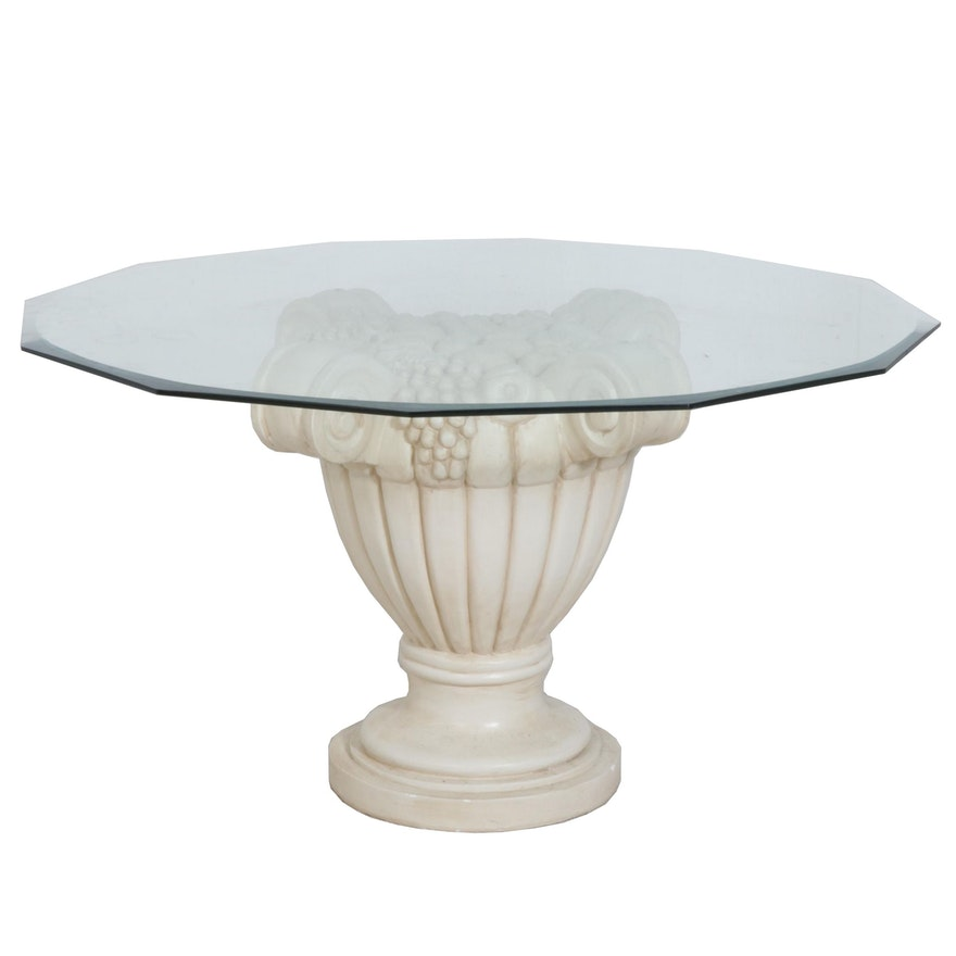 Contemporary Glass Top Plaster Pedestal Dining Table, Late 20th Century