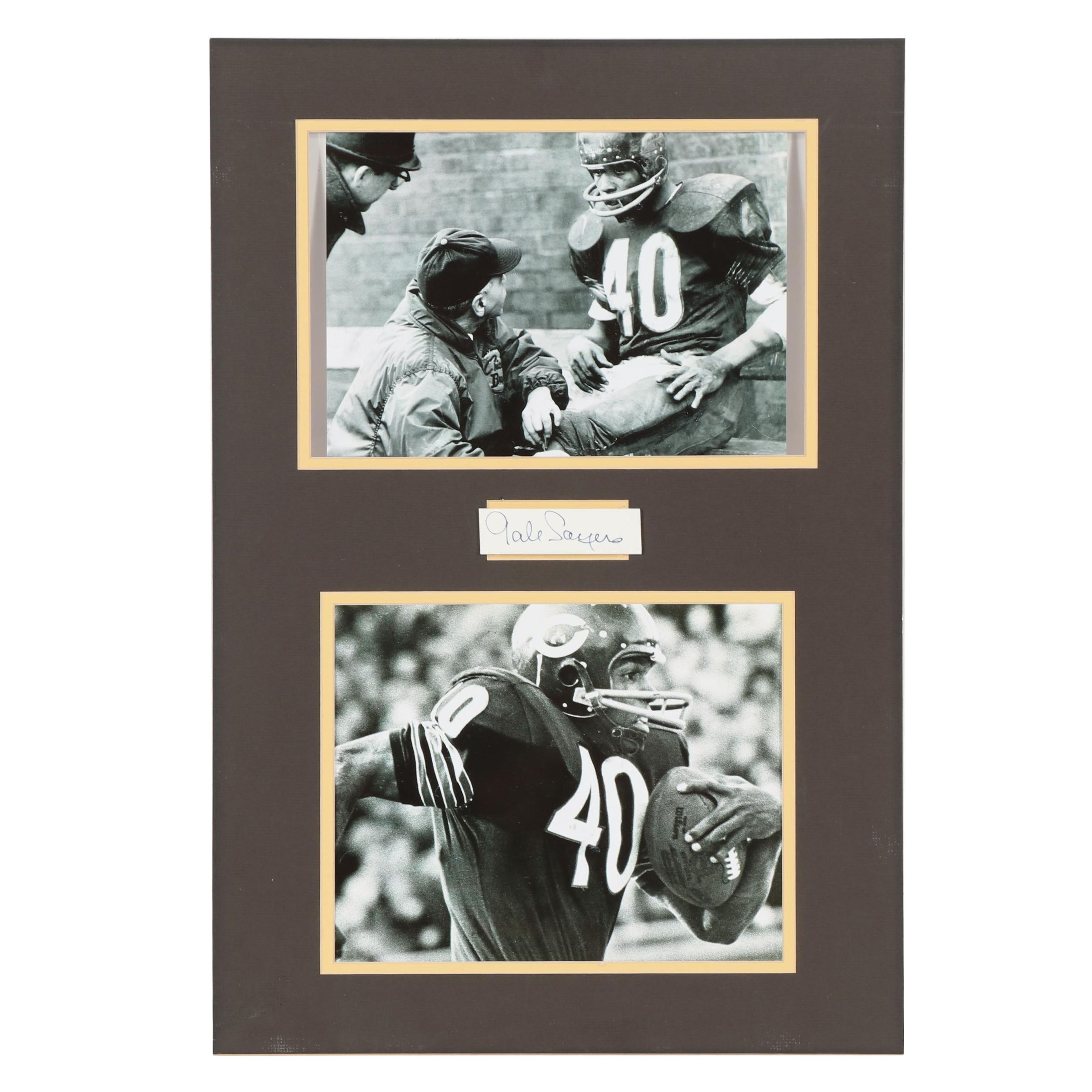 Gale Sayers Autographed Cut with Photos in Matted Display