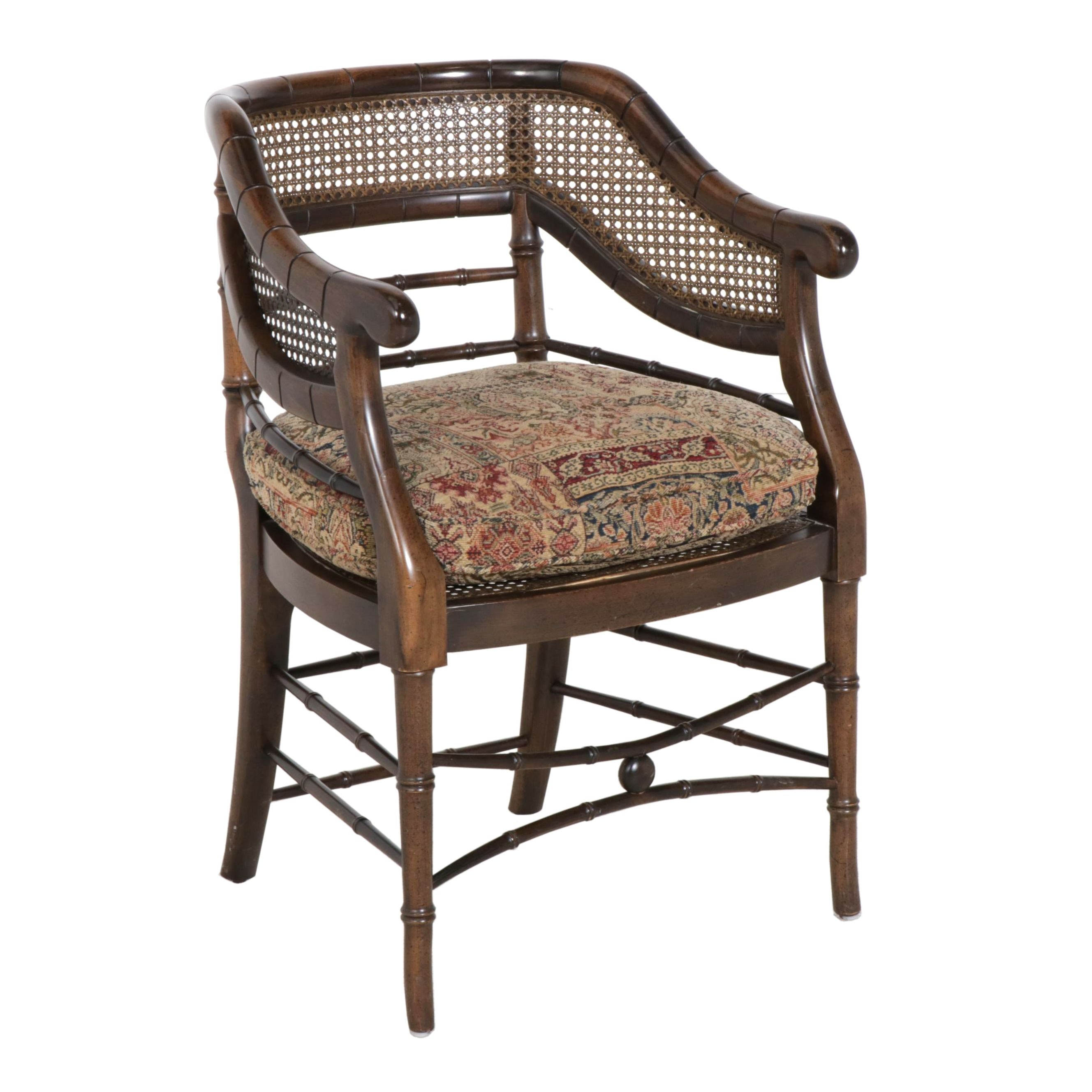 Regency Style Wood and Cane Armchair with Fabric Upholstered Cushion, 20th C.