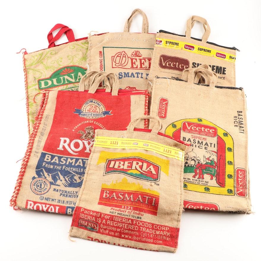 Burlap Zippered Rice Bag Totes