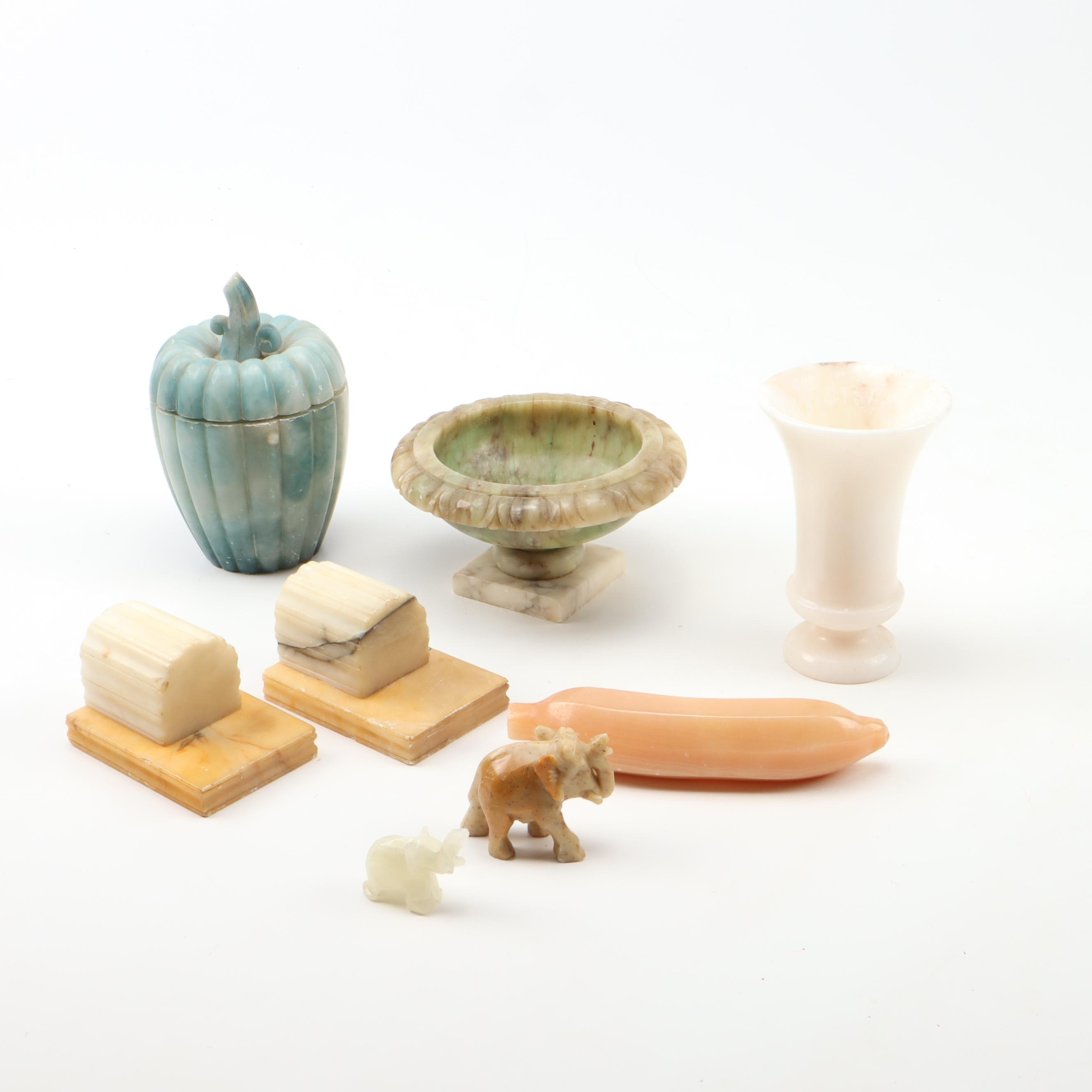 Carved Onyx, Marble, and Stone Containers and Figurines, Vintage