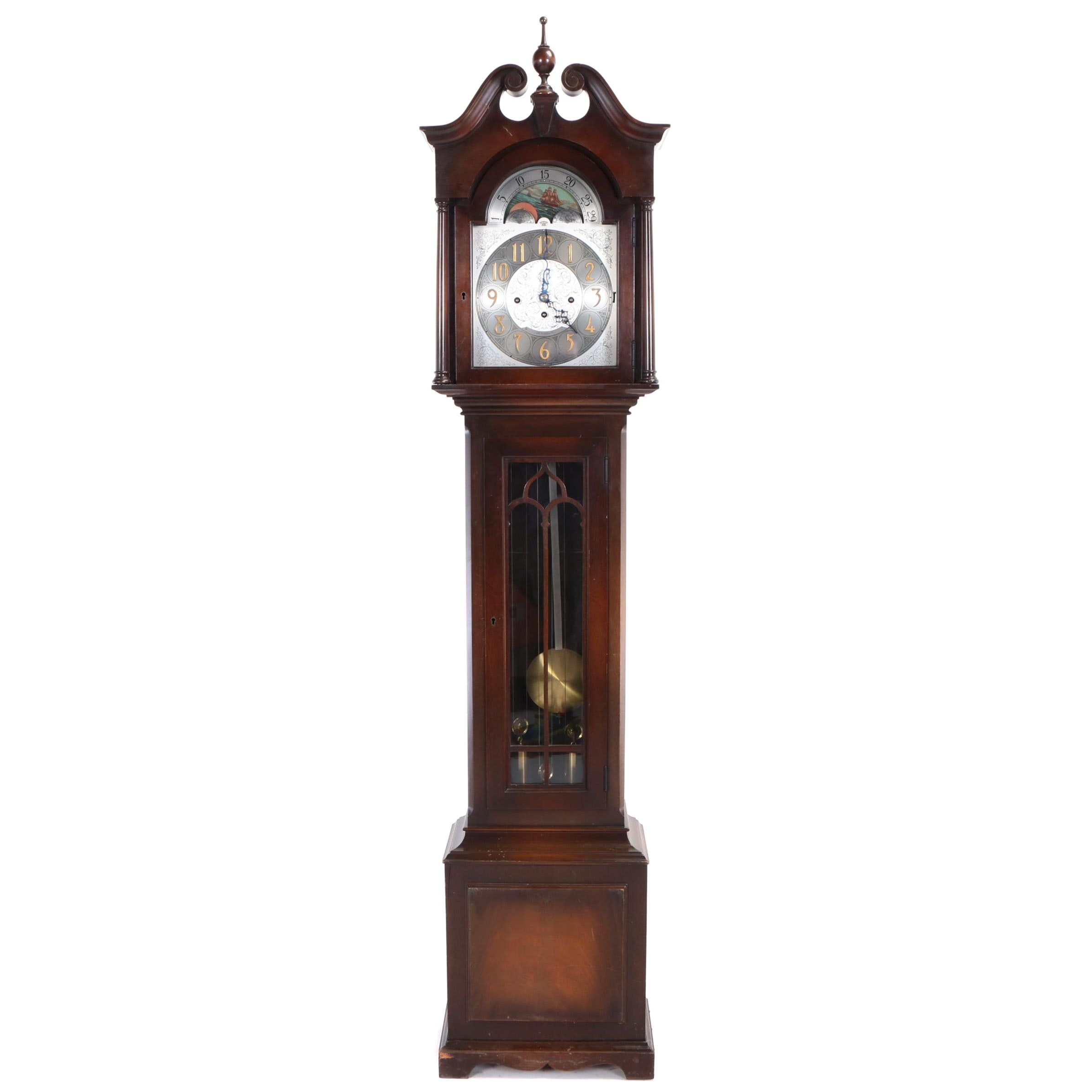 Herschede Hall Clock Co., Mahogany Tall Case Clock, Early 20th Century