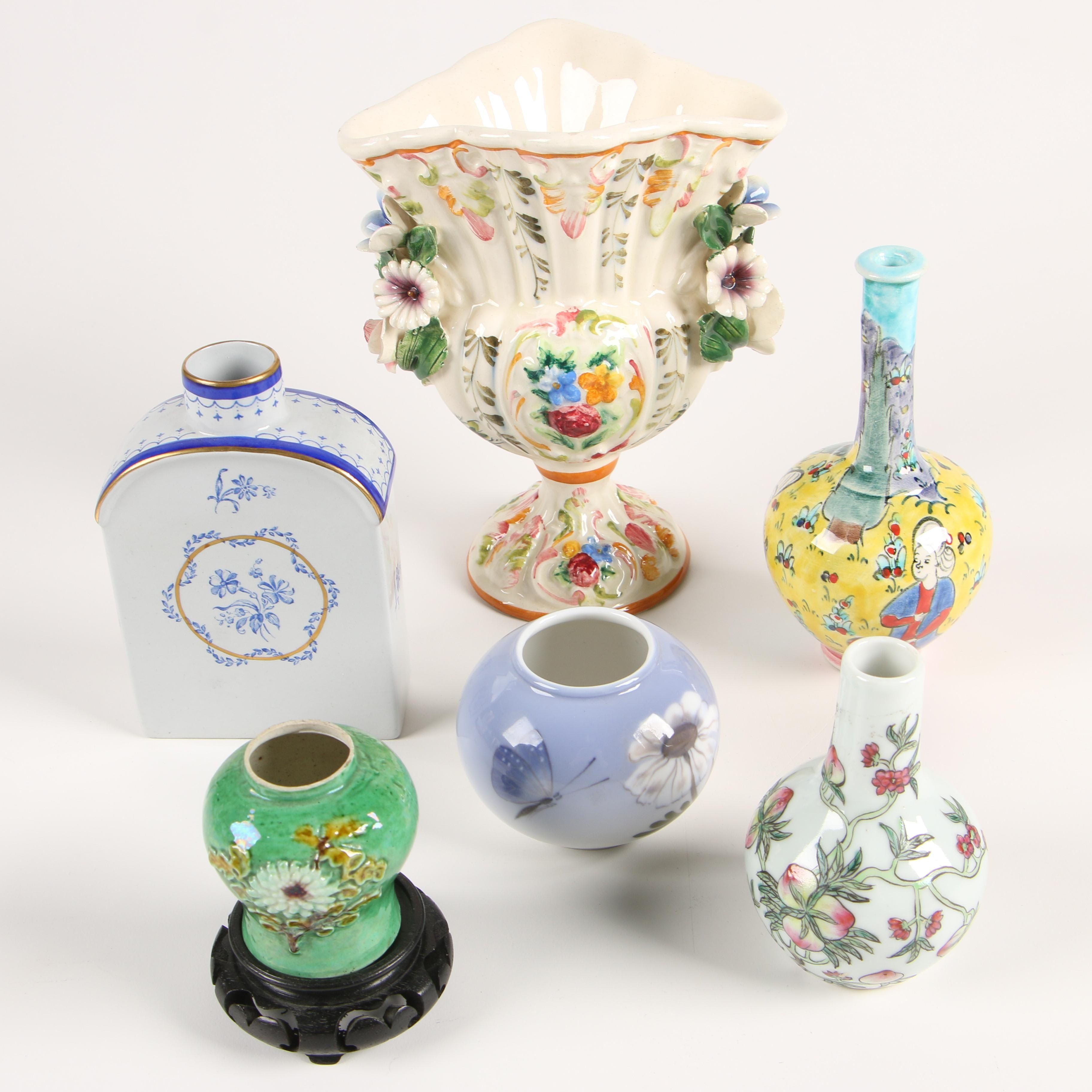 Royal Copenhagen, Spode and Other Hand-Painted Ceramic Vases