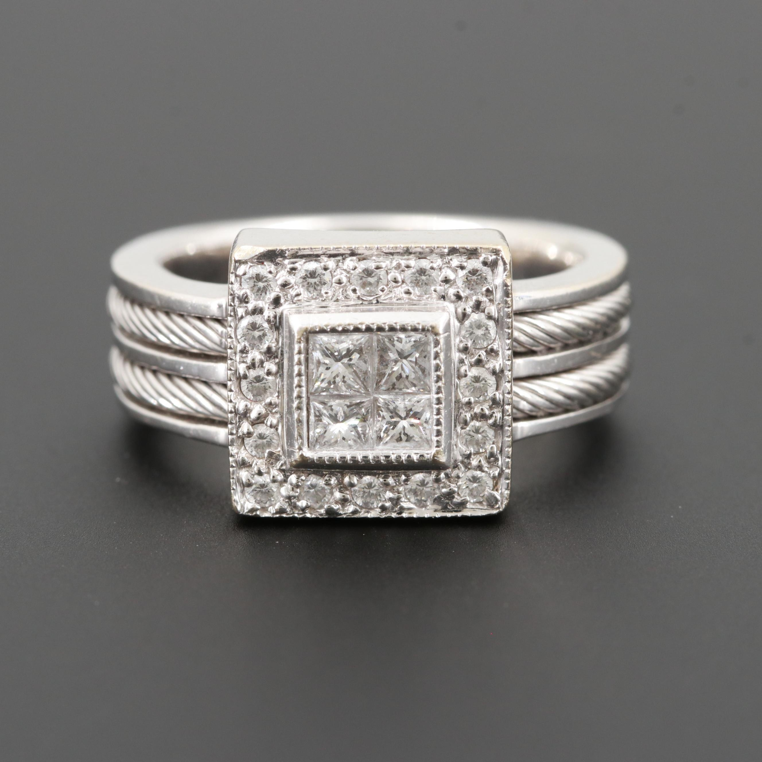 18K White Gold Diamond Ring with White Gold Rope Detail