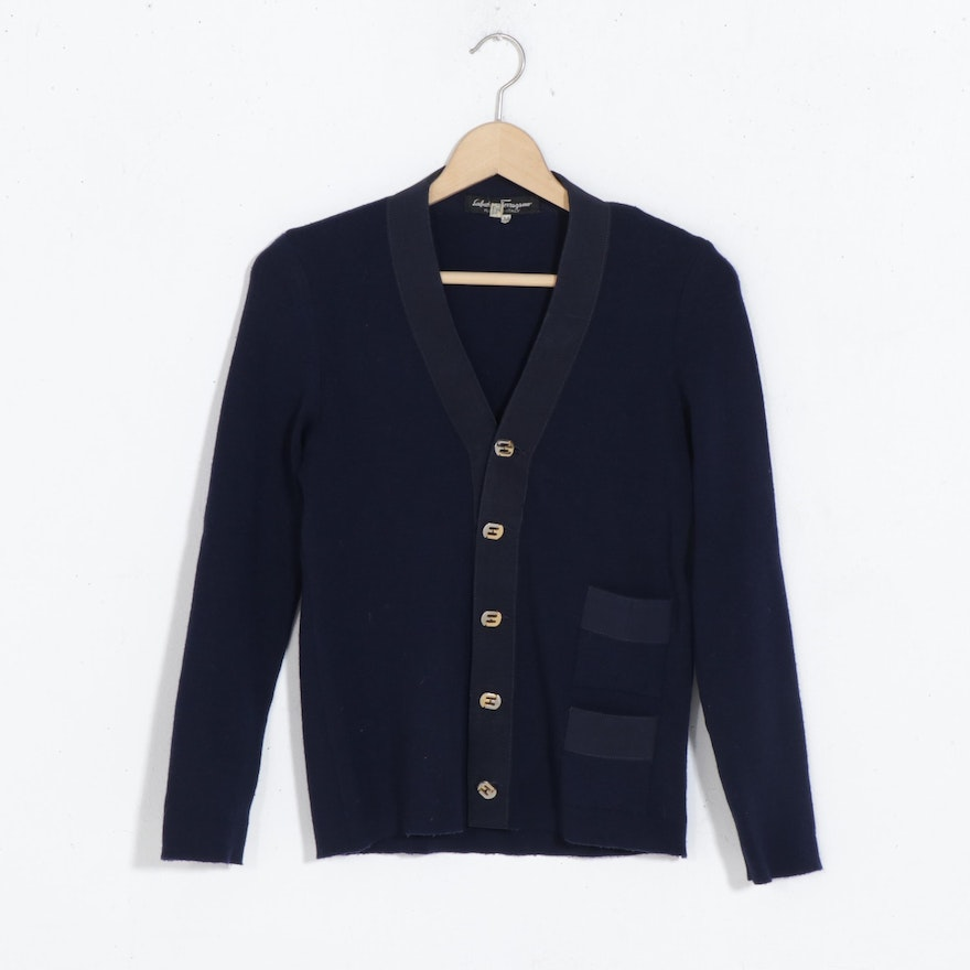 Salvatore Ferragamo Navy Wool and Grosgrain Cardigan with Pockets, Vintage