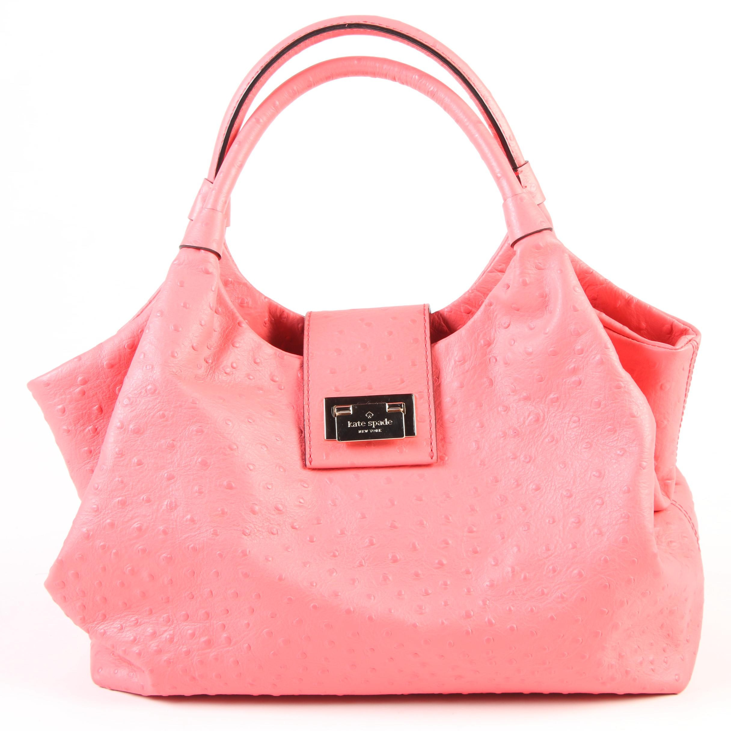 Kate Spade New York Strawberry Daiquiri Ostrich Embossed Leather Satchel