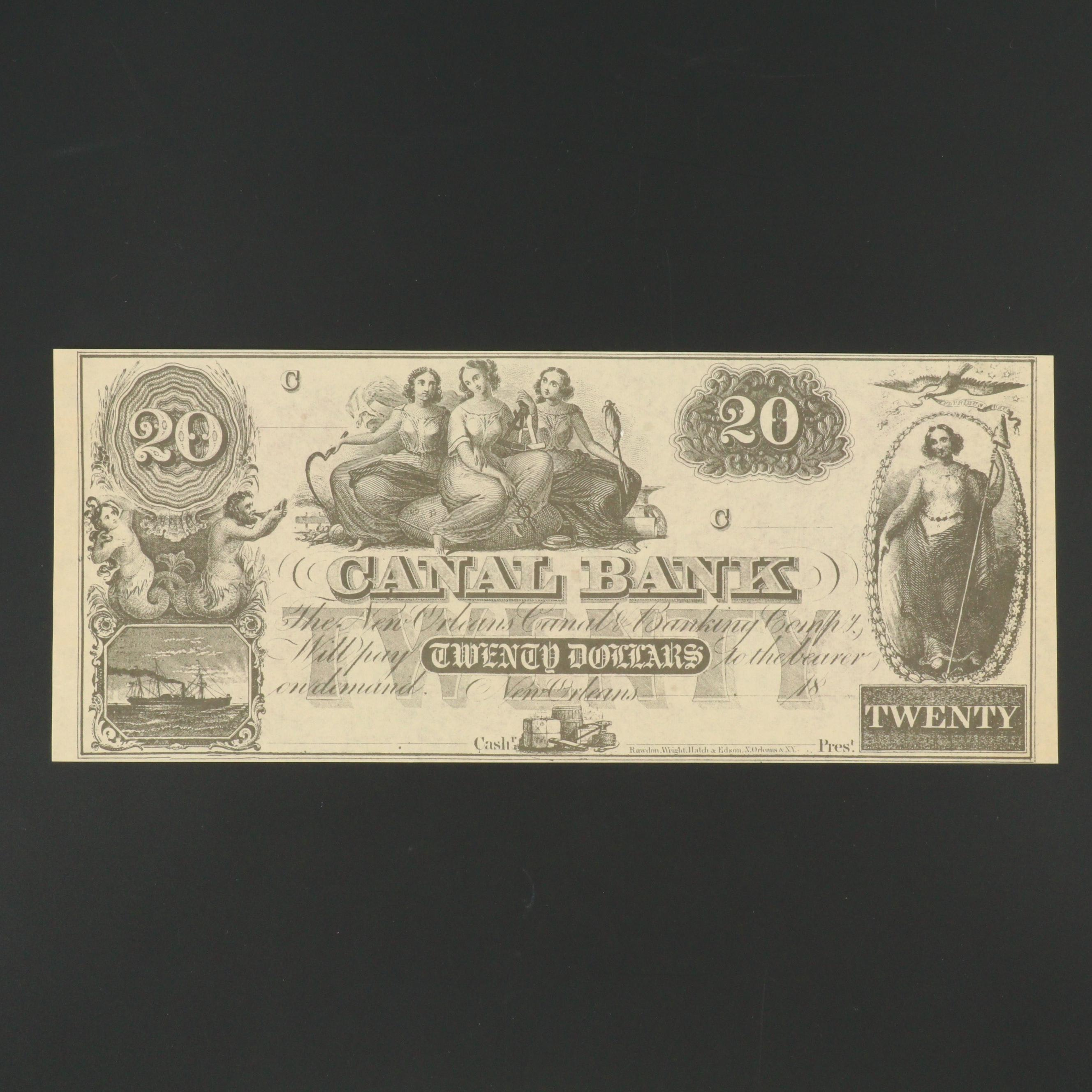 Canal Bank New Orleans $20 Obsolete Banknote From the 1850s