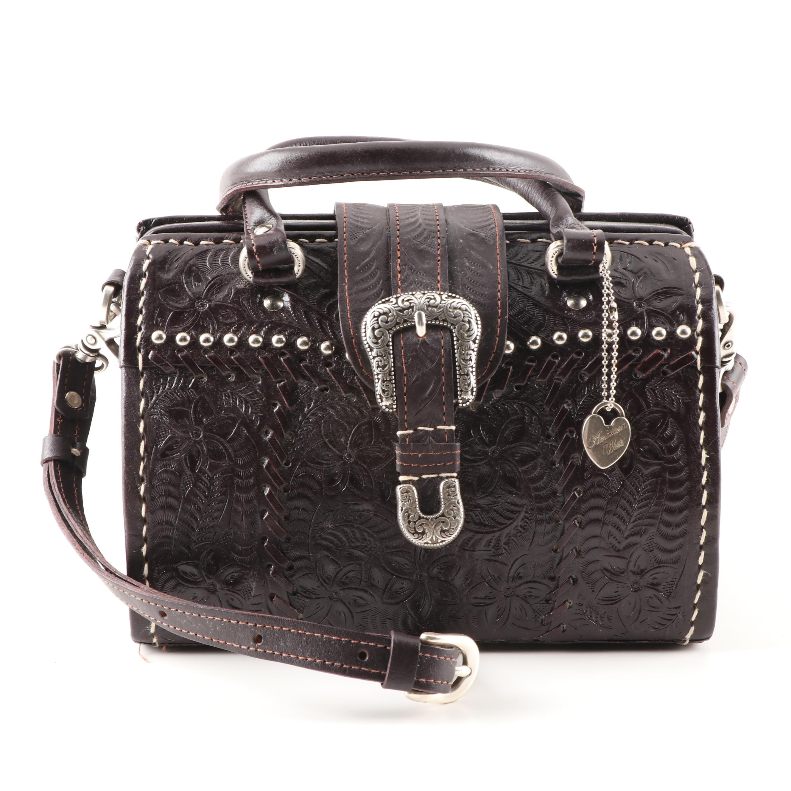 American West Tooled Leather Handbag
