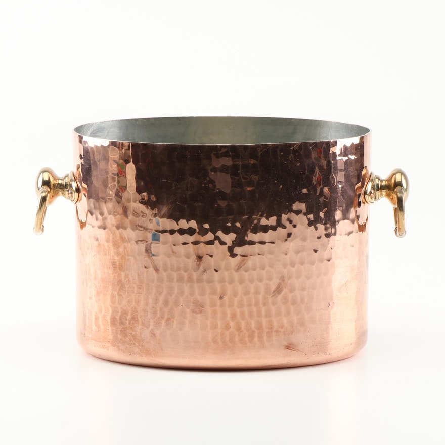 Williams-Sonoma Hammered Copper Double Wine Cooler With Brass Handles