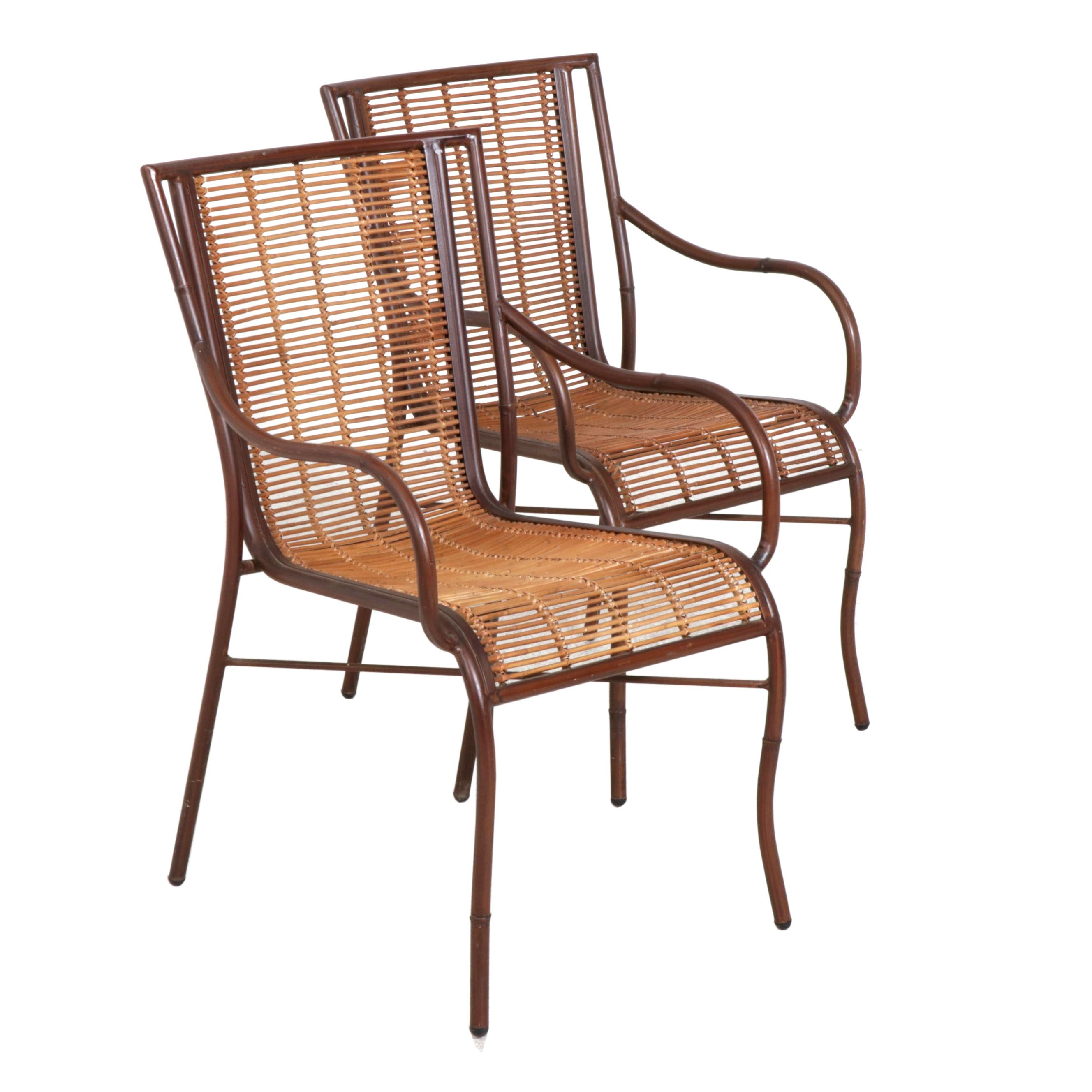 Pair of Contemporary Metal Armchairs with Cane Seats
