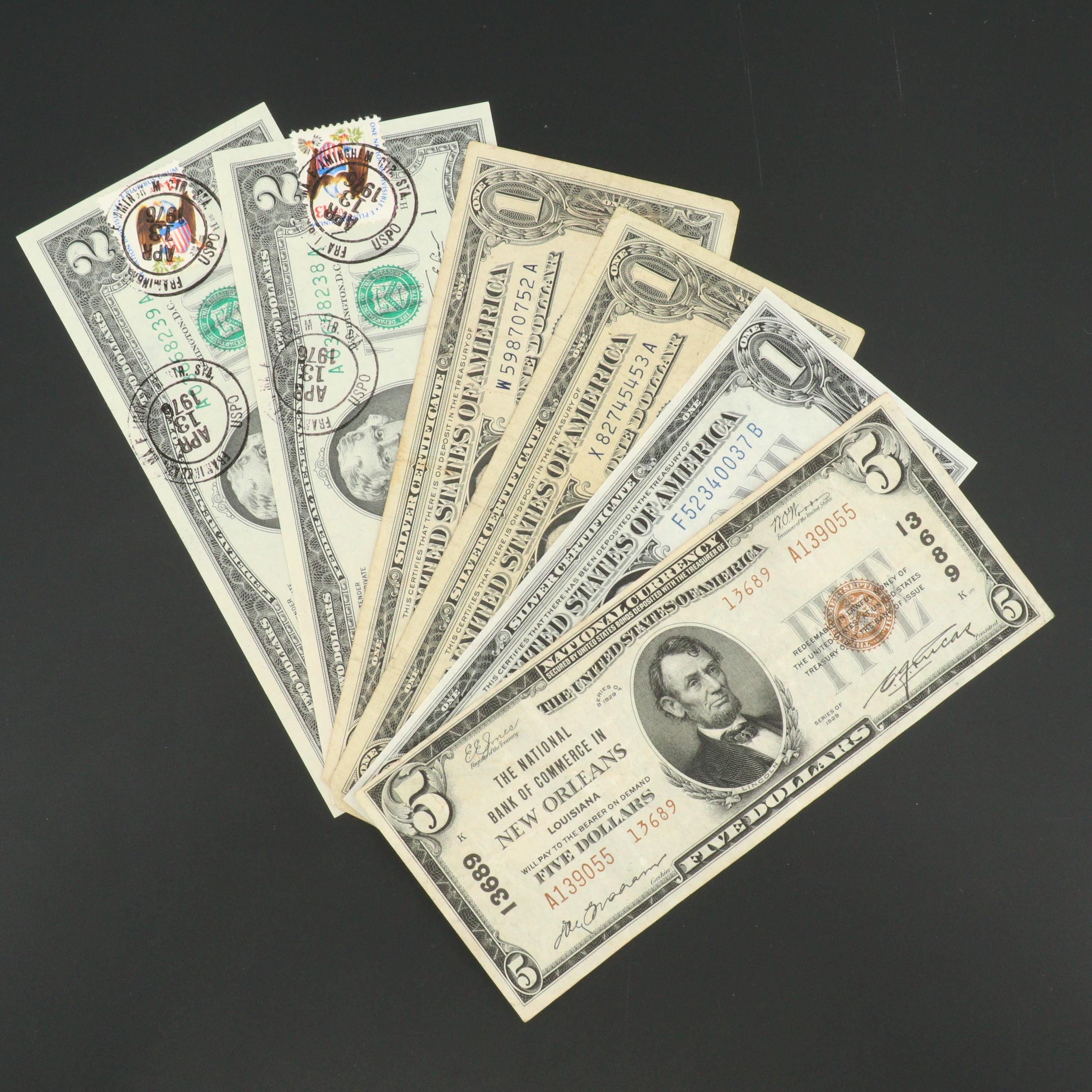 Group of Vintage Brown Seal, Blue Seal and Green Seal U.S. Currency Notes
