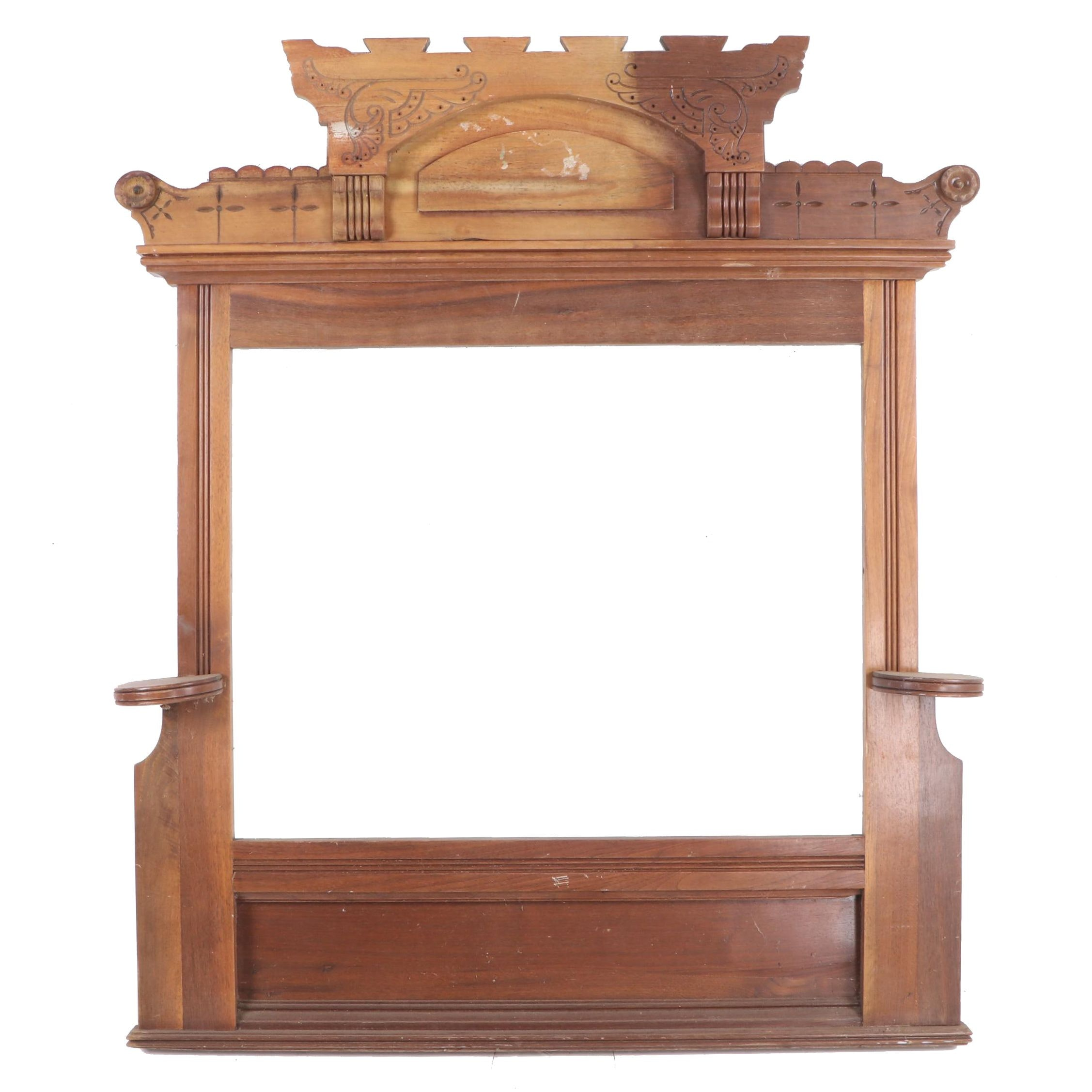 Victorian Carved Walnut Frame, Probably a Former Superstructure, Late 19th C.