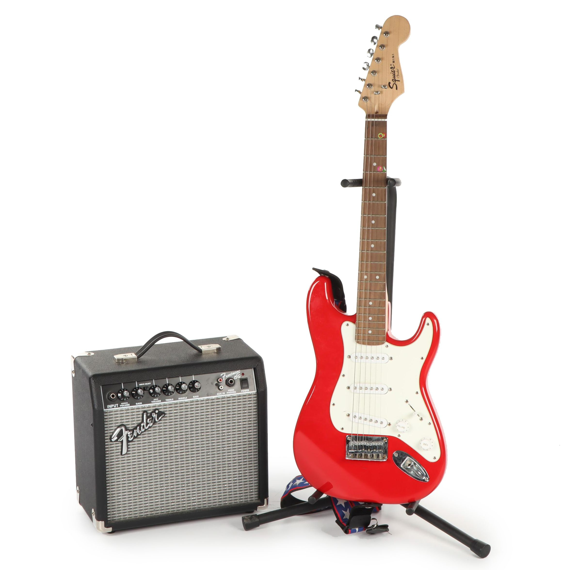 Fender Squier Mini Electric Guitar Set with Frontman Amplifier and Stand