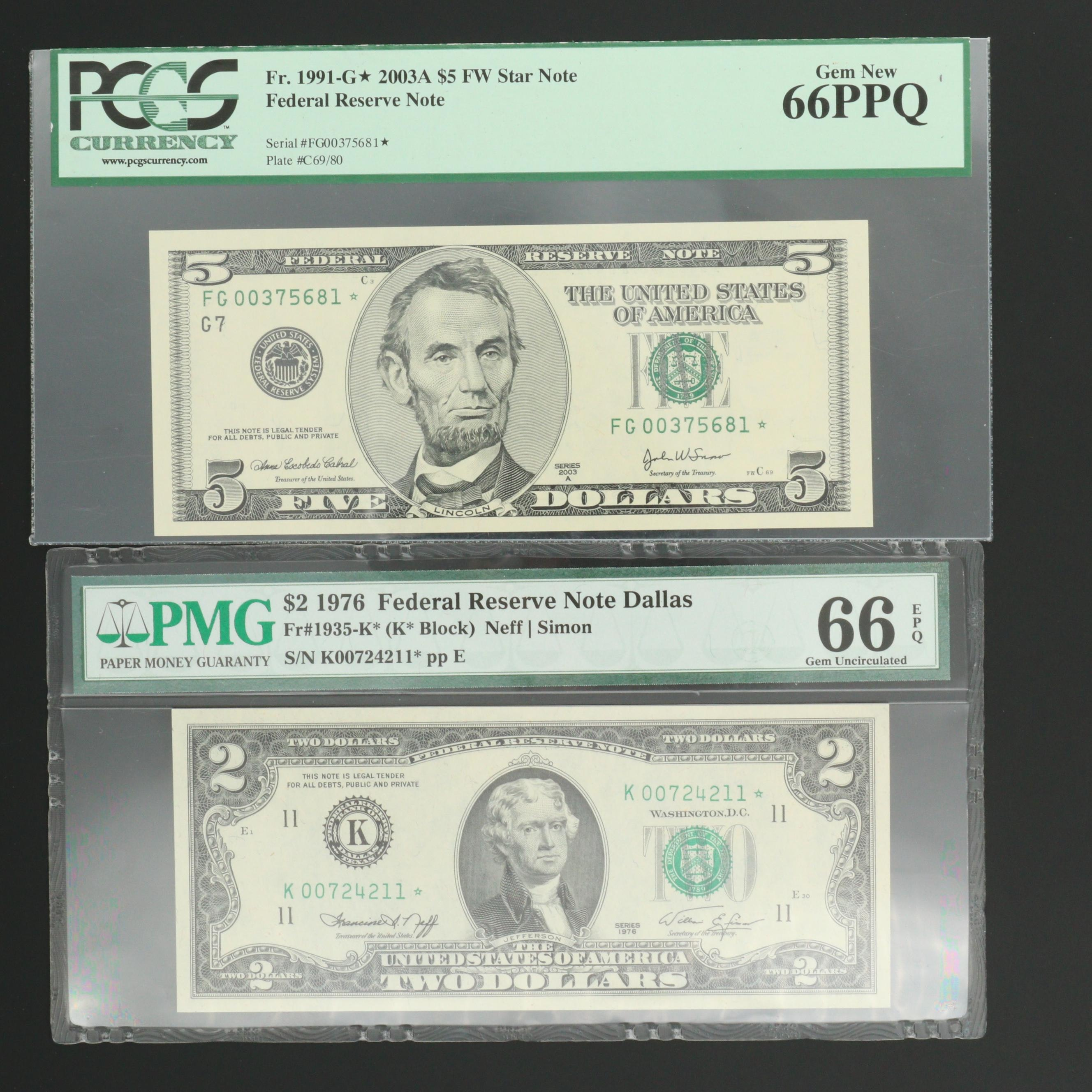 "Two Graded U.S. Federal Reserve ""Star"" Notes"